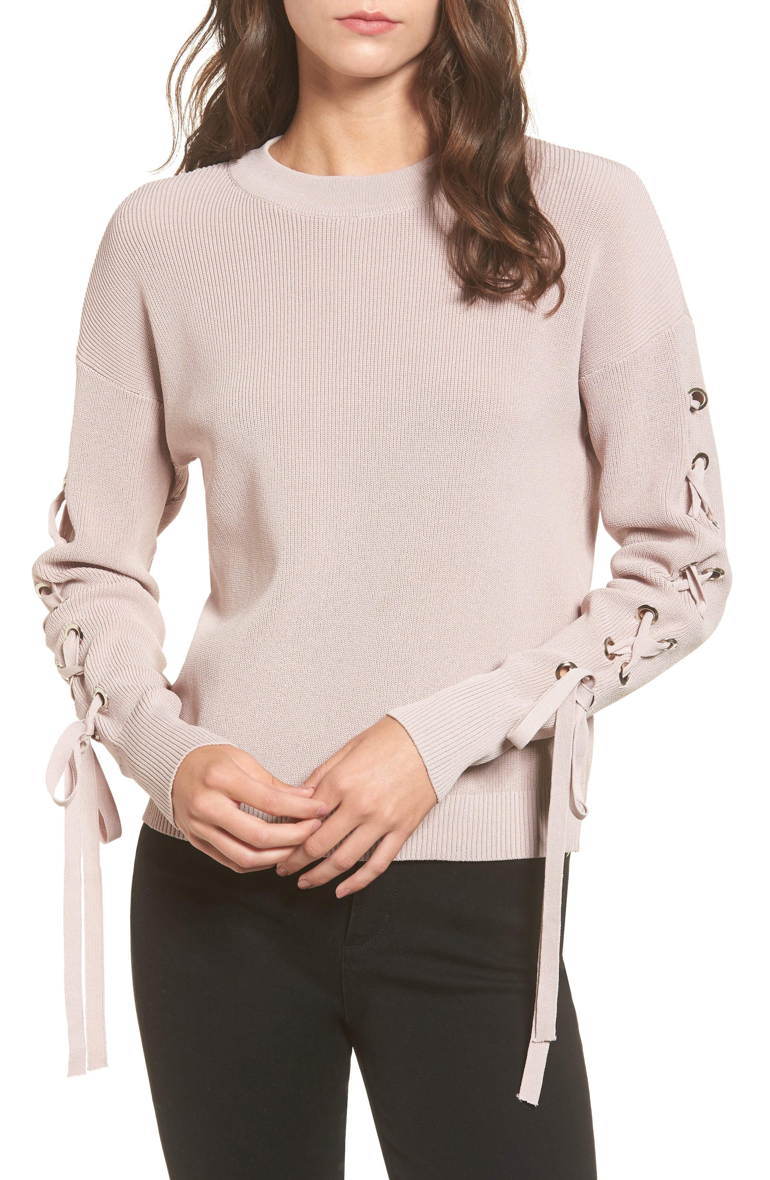 Lace-Up Sleeve Sweater,                         Main,                         color, Pink