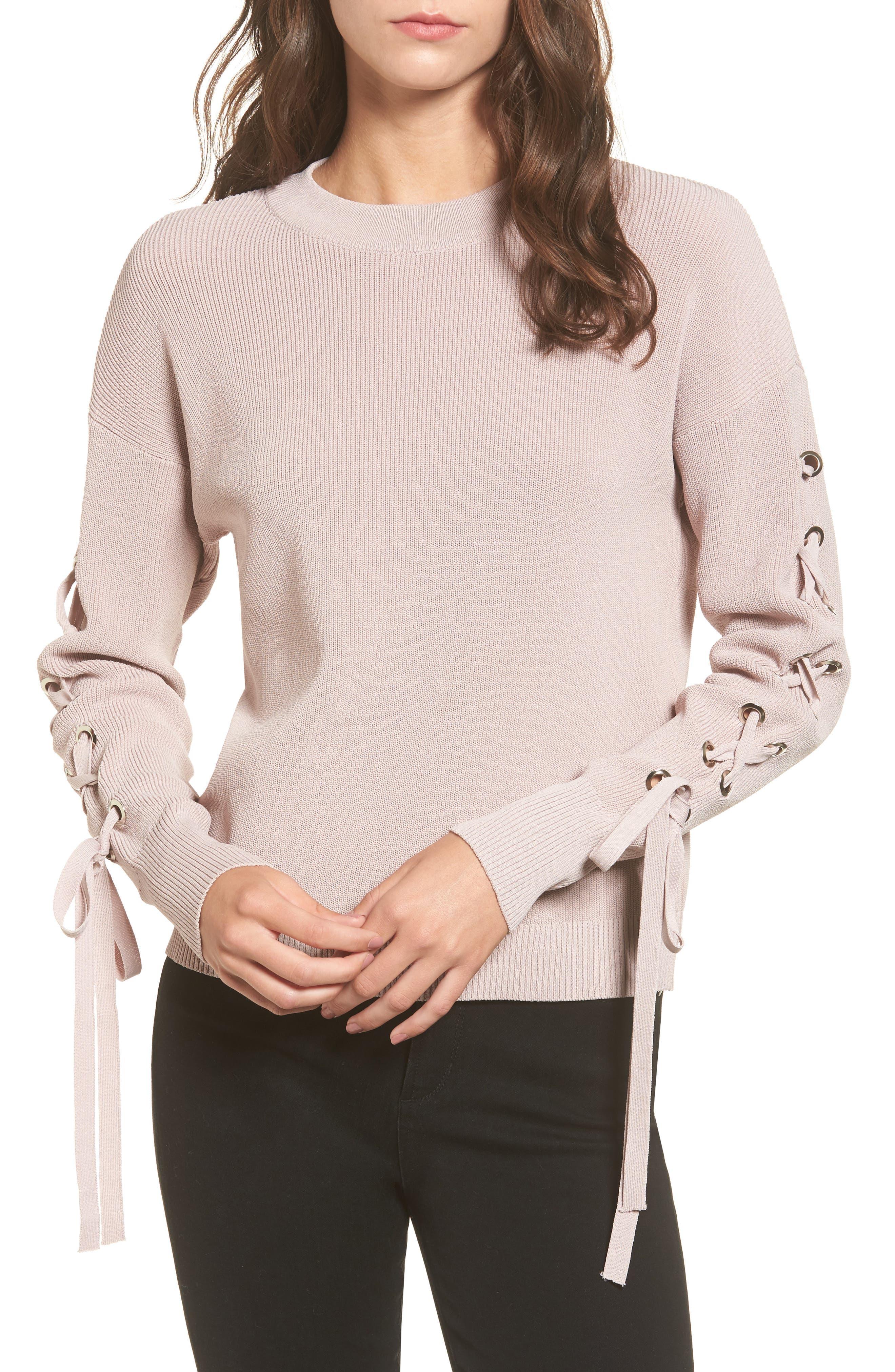 J.O.A. Lace-Up Sleeve Sweater