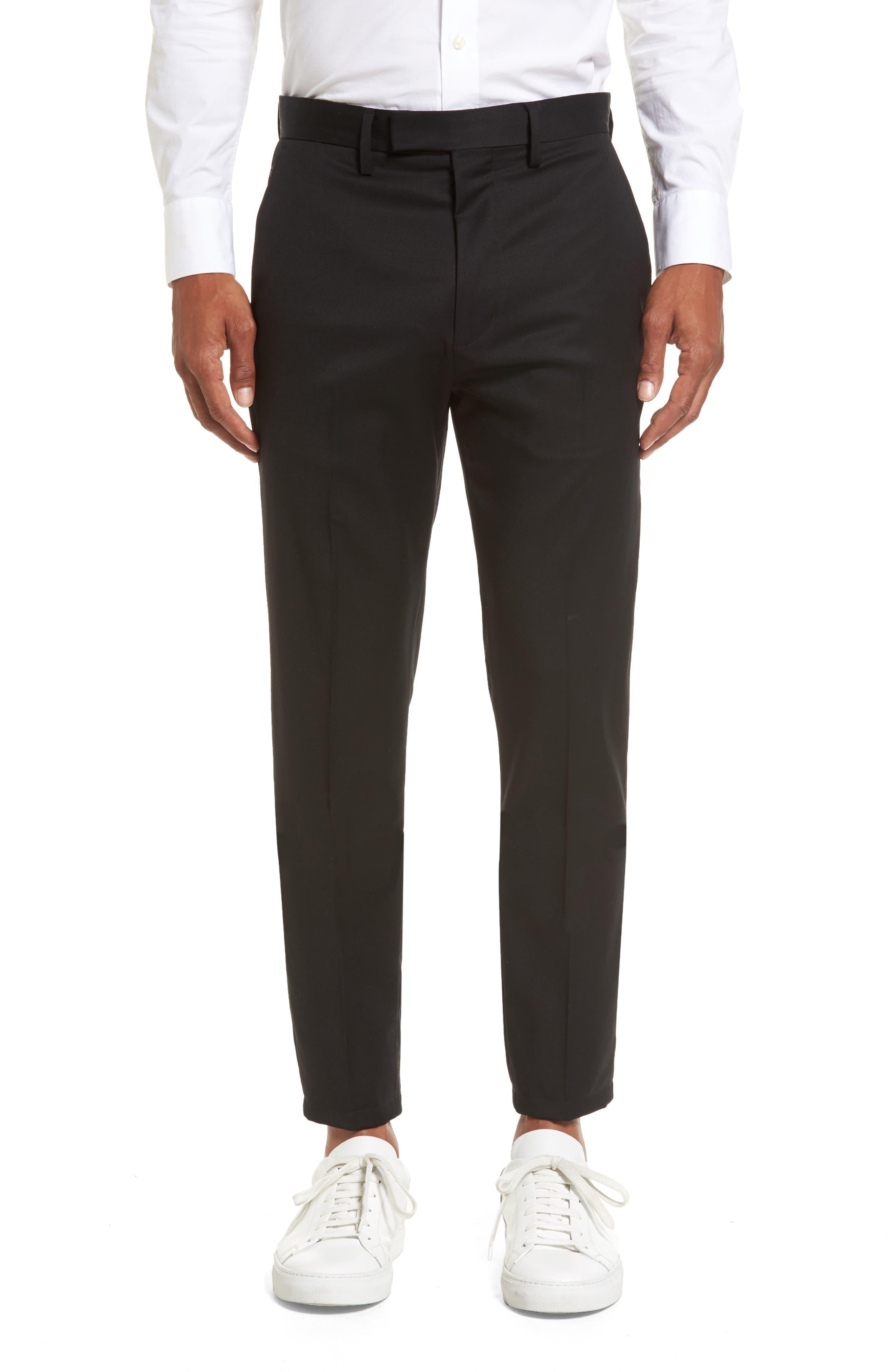 Slim Wool Trousers,                         Main,                         color, Black Caviar