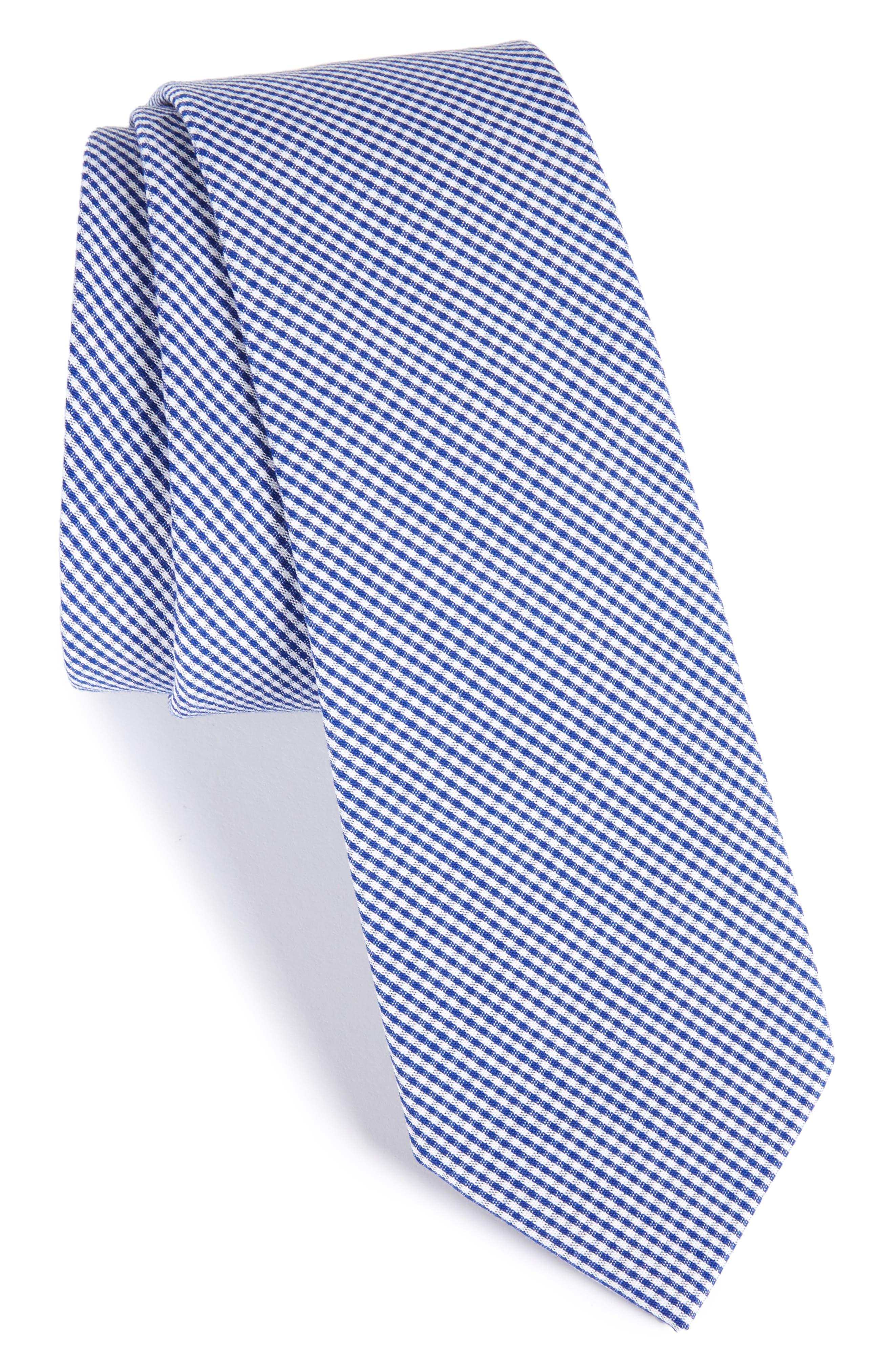Check Cotton Tie,                             Main thumbnail 1, color,                             Navy