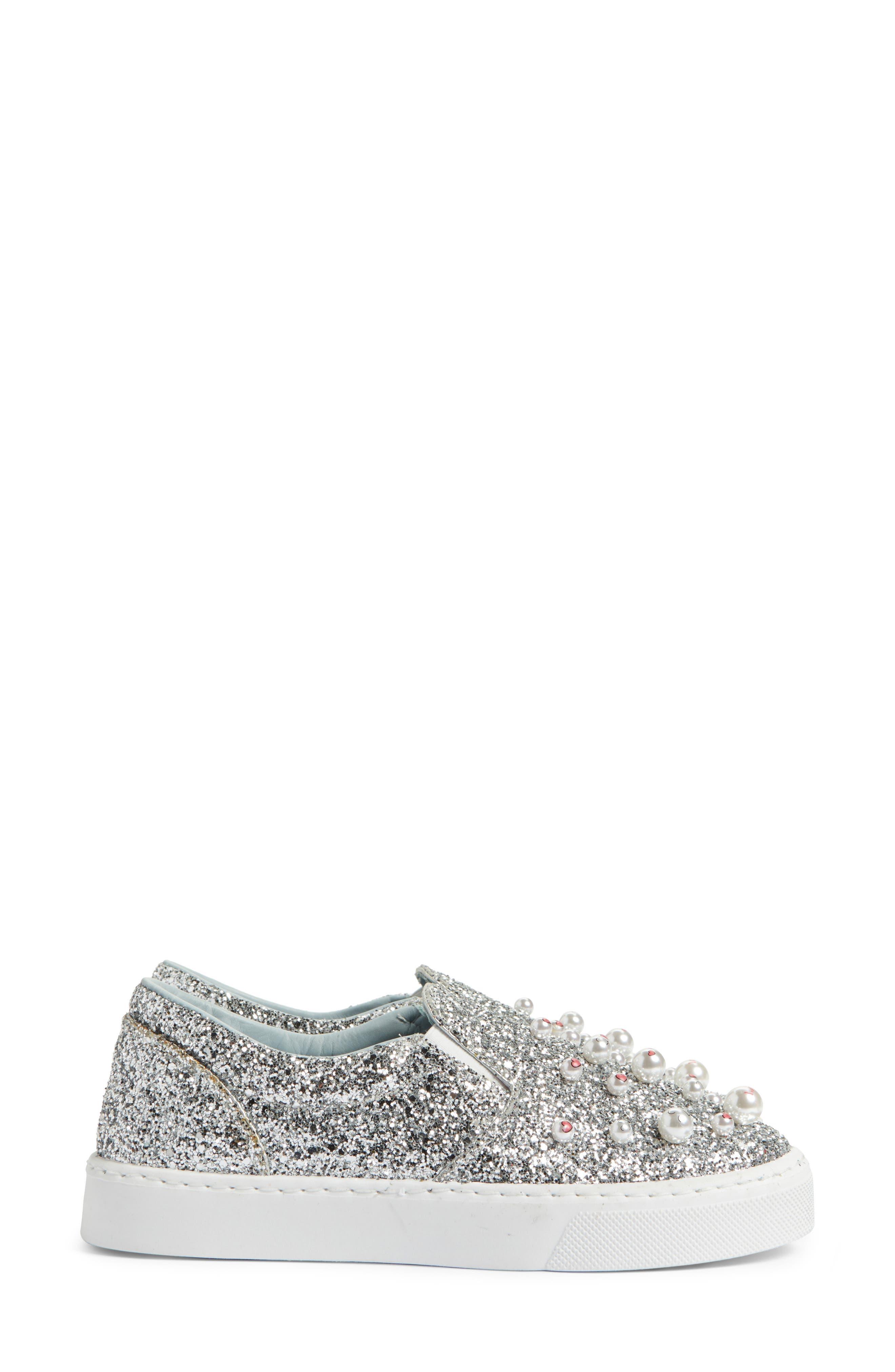 Candies Embellished Slip-On Sneaker,                             Alternate thumbnail 4, color,                             Silver