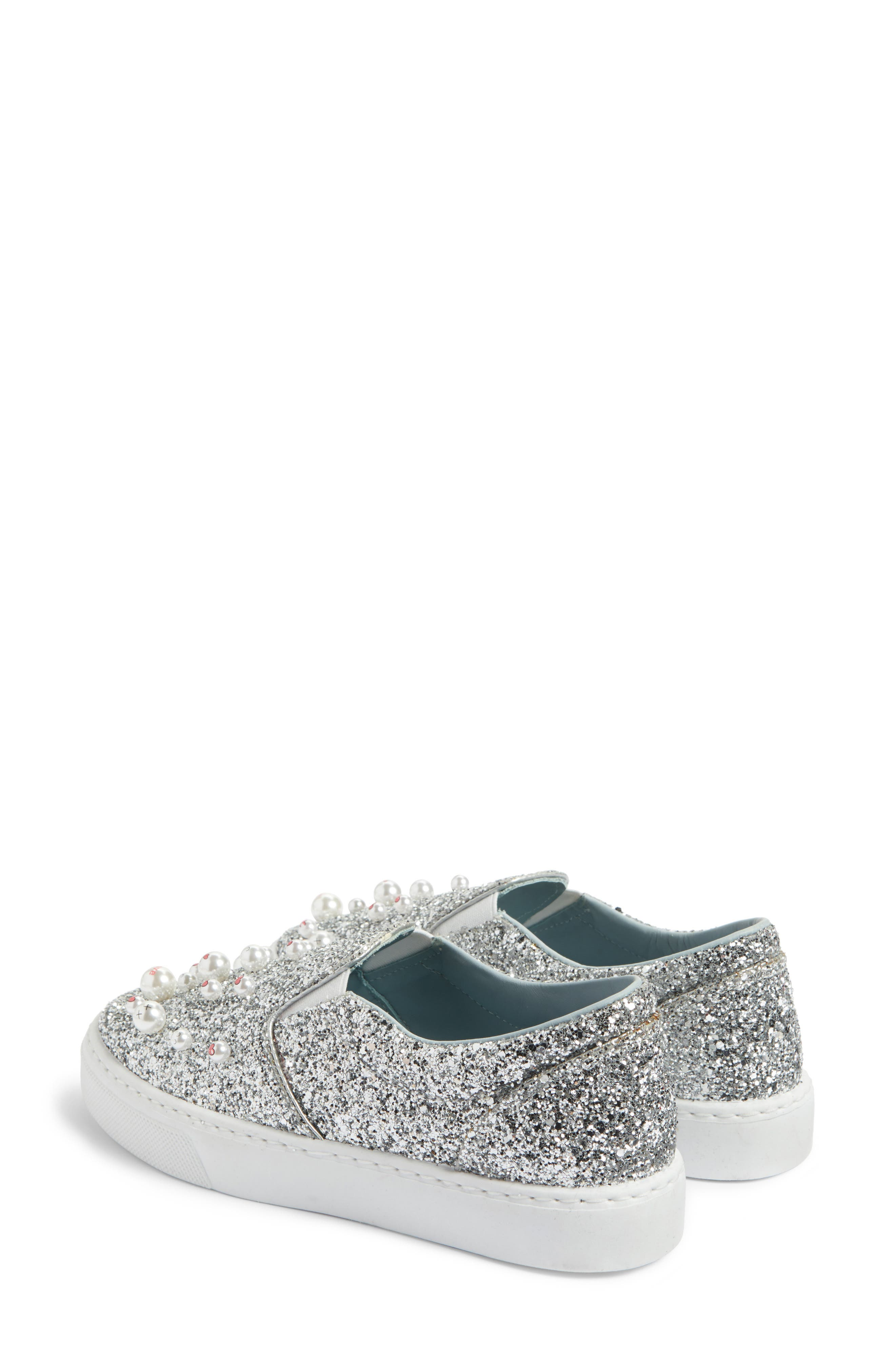 Candies Embellished Slip-On Sneaker,                             Alternate thumbnail 3, color,                             Silver