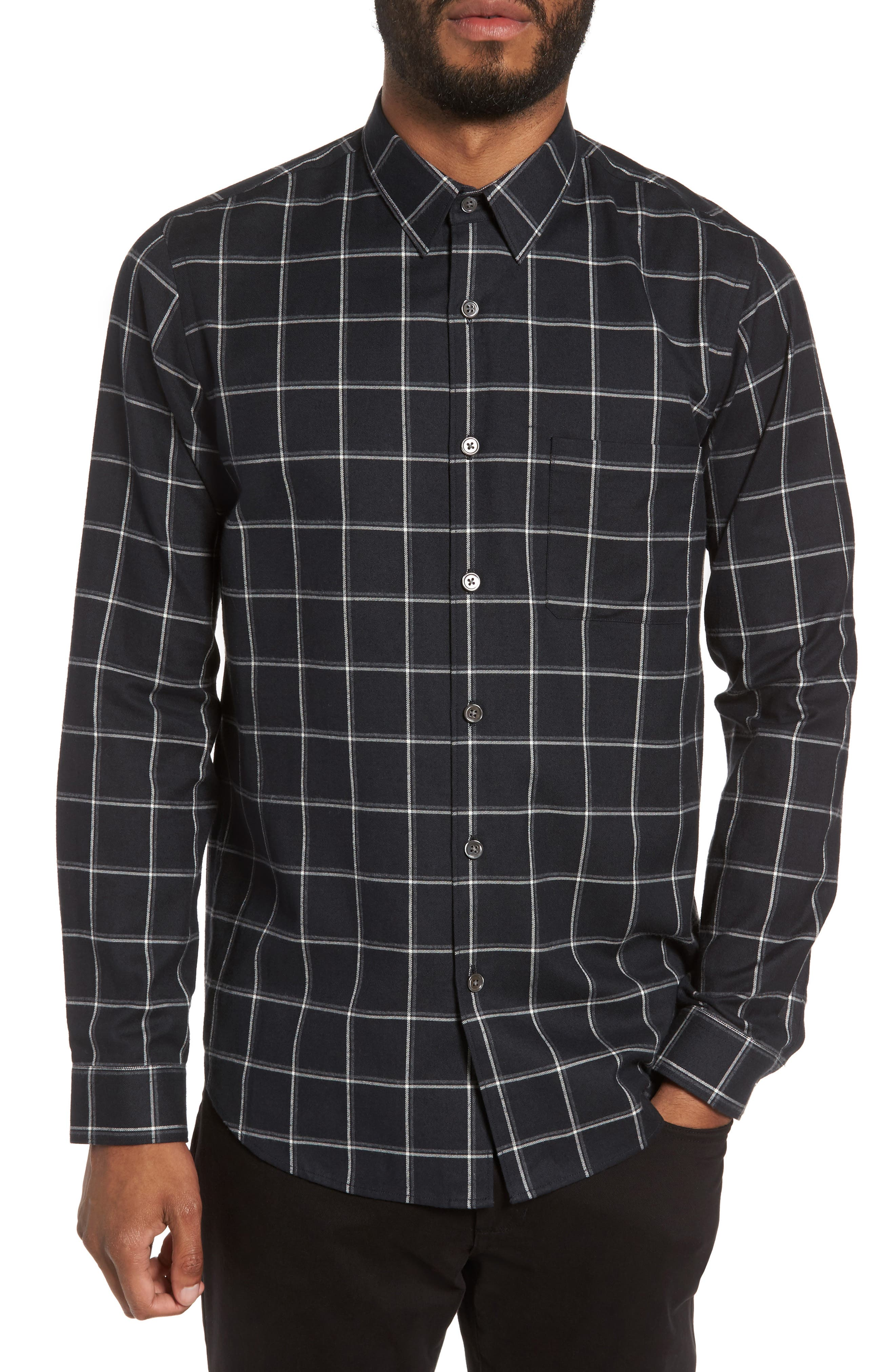 Theory Rammy Trim Fit Check Flannel Shirt