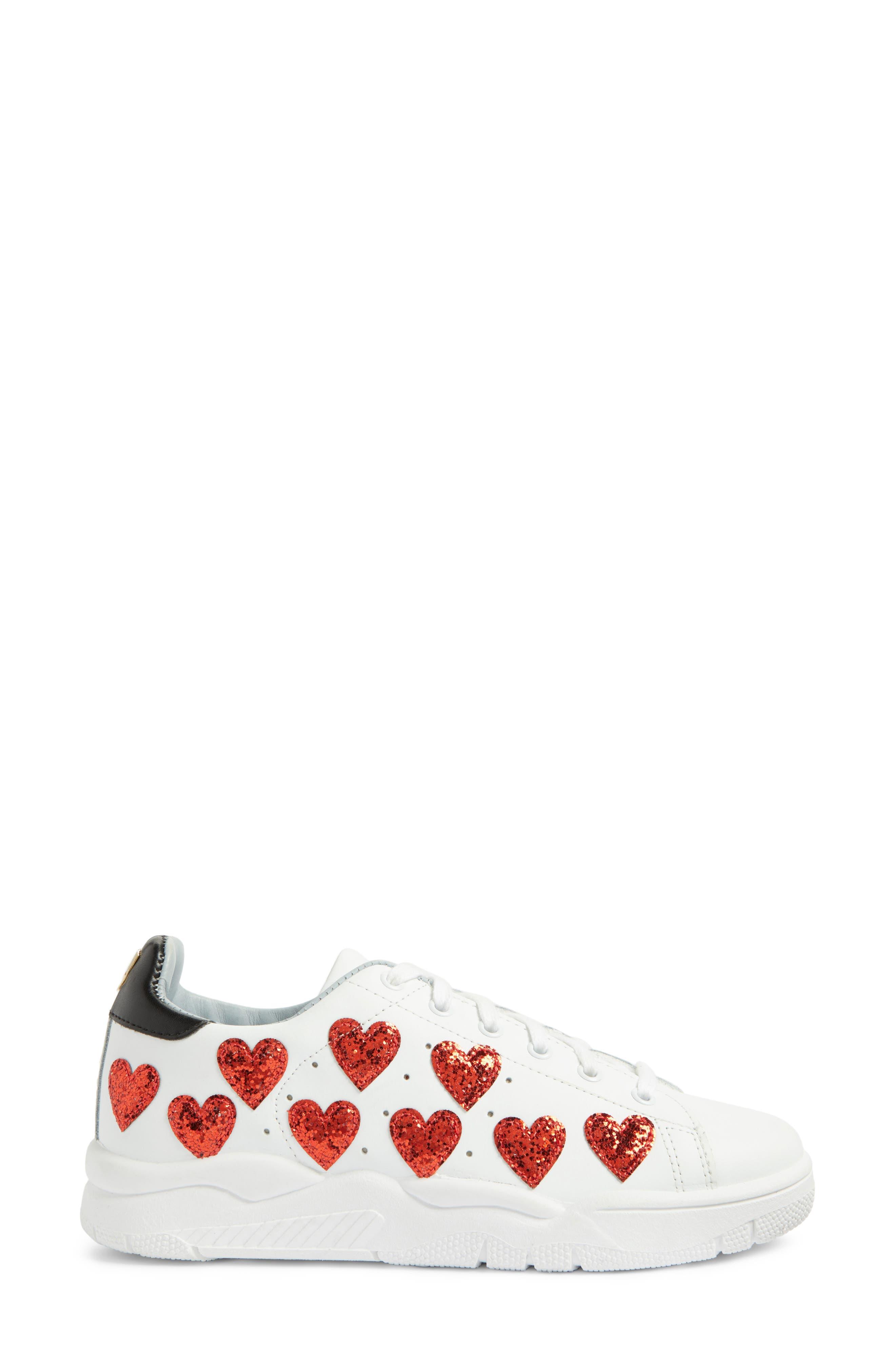 Hearts Roger Sneaker,                             Alternate thumbnail 3, color,                             White/ Red
