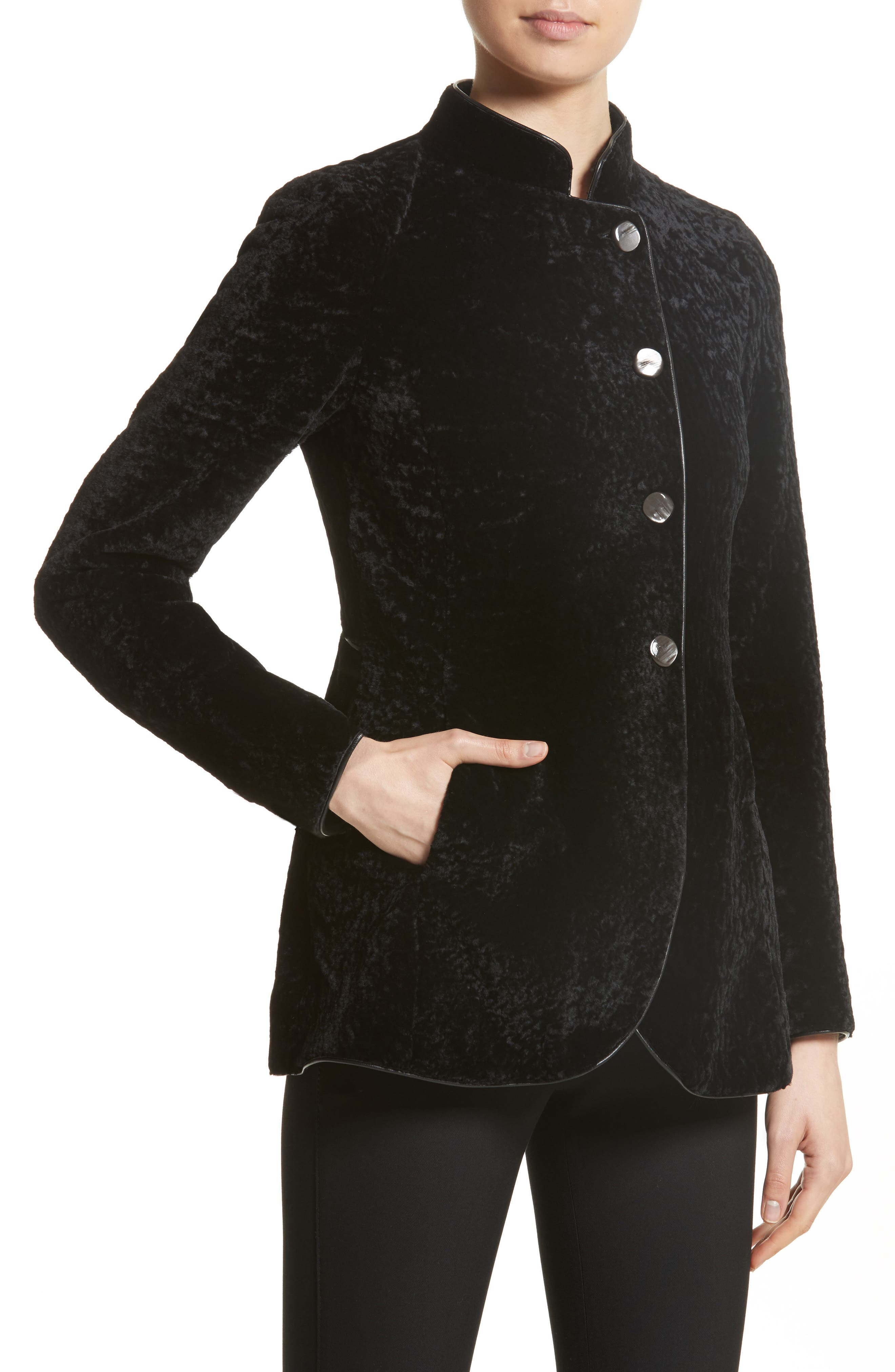 Genuine Shearling Jacket,                             Alternate thumbnail 4, color,                             Black