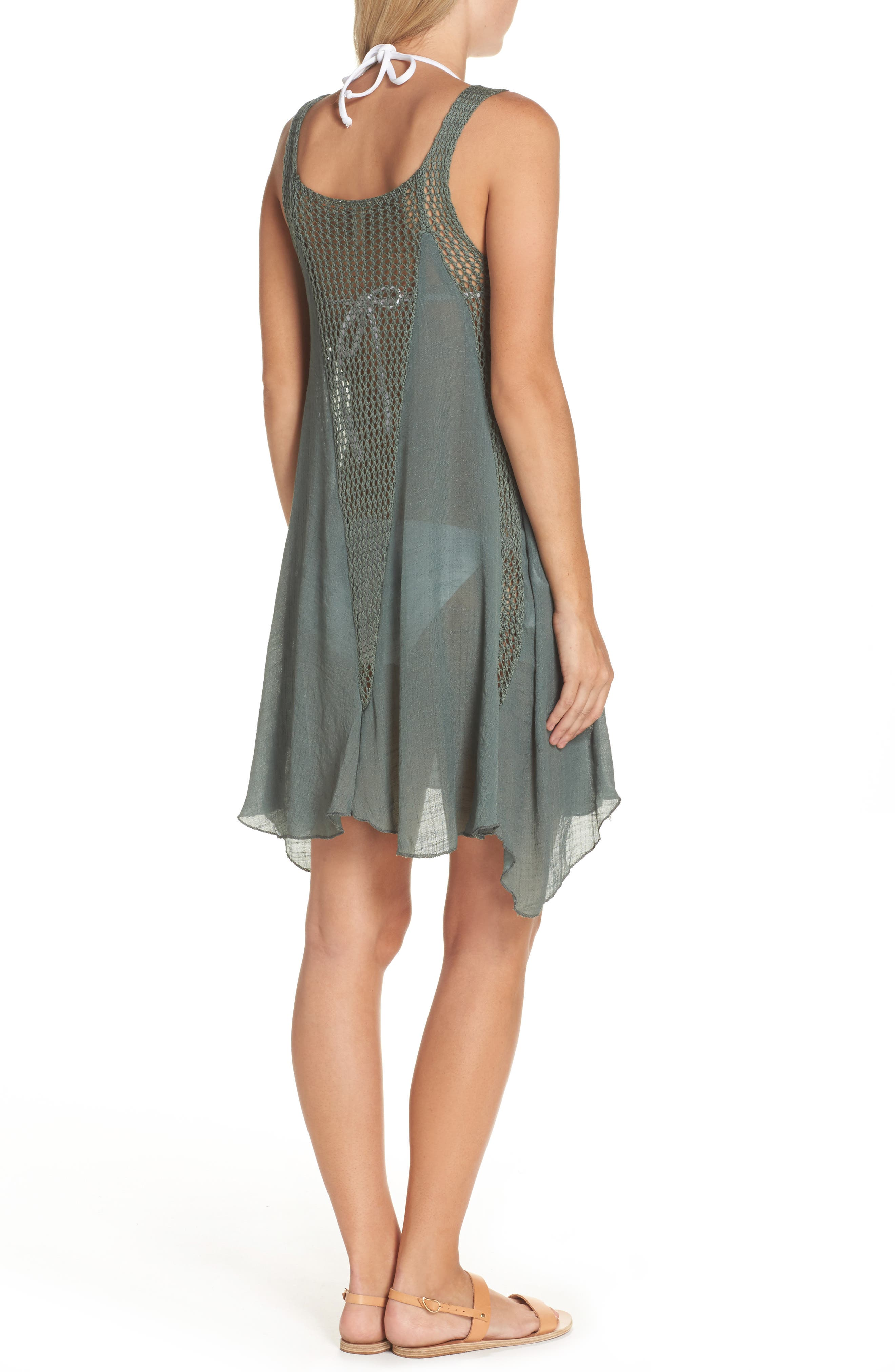 Crochet Inset Cover-Up Dress,                             Alternate thumbnail 2, color,                             Olive
