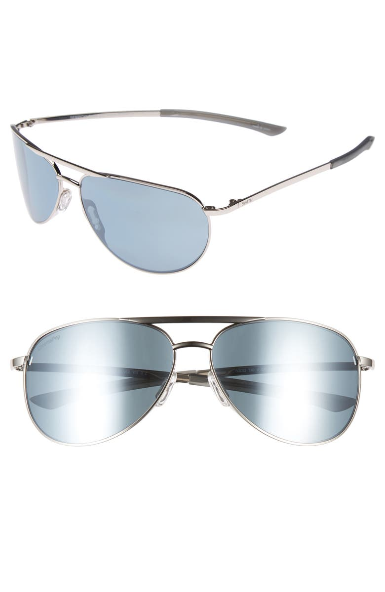 01caf4efd33 Smith Serpico Slim 2.0 60Mm Chromapop Polarized Aviator Sunglasses - Silver   Platinum Polar