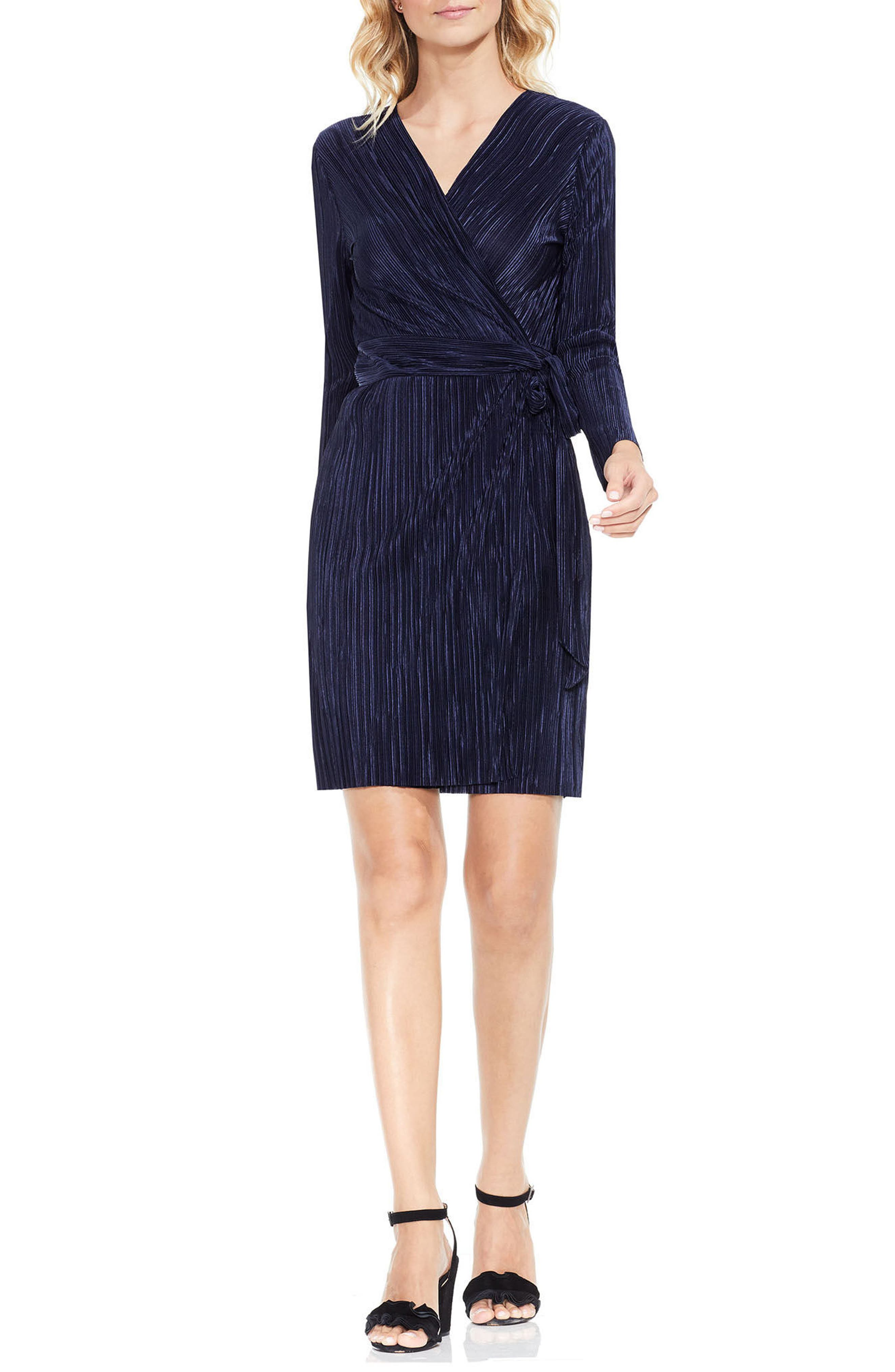Pleated Knit Wrap Dress,                         Main,                         color, Crew Navy