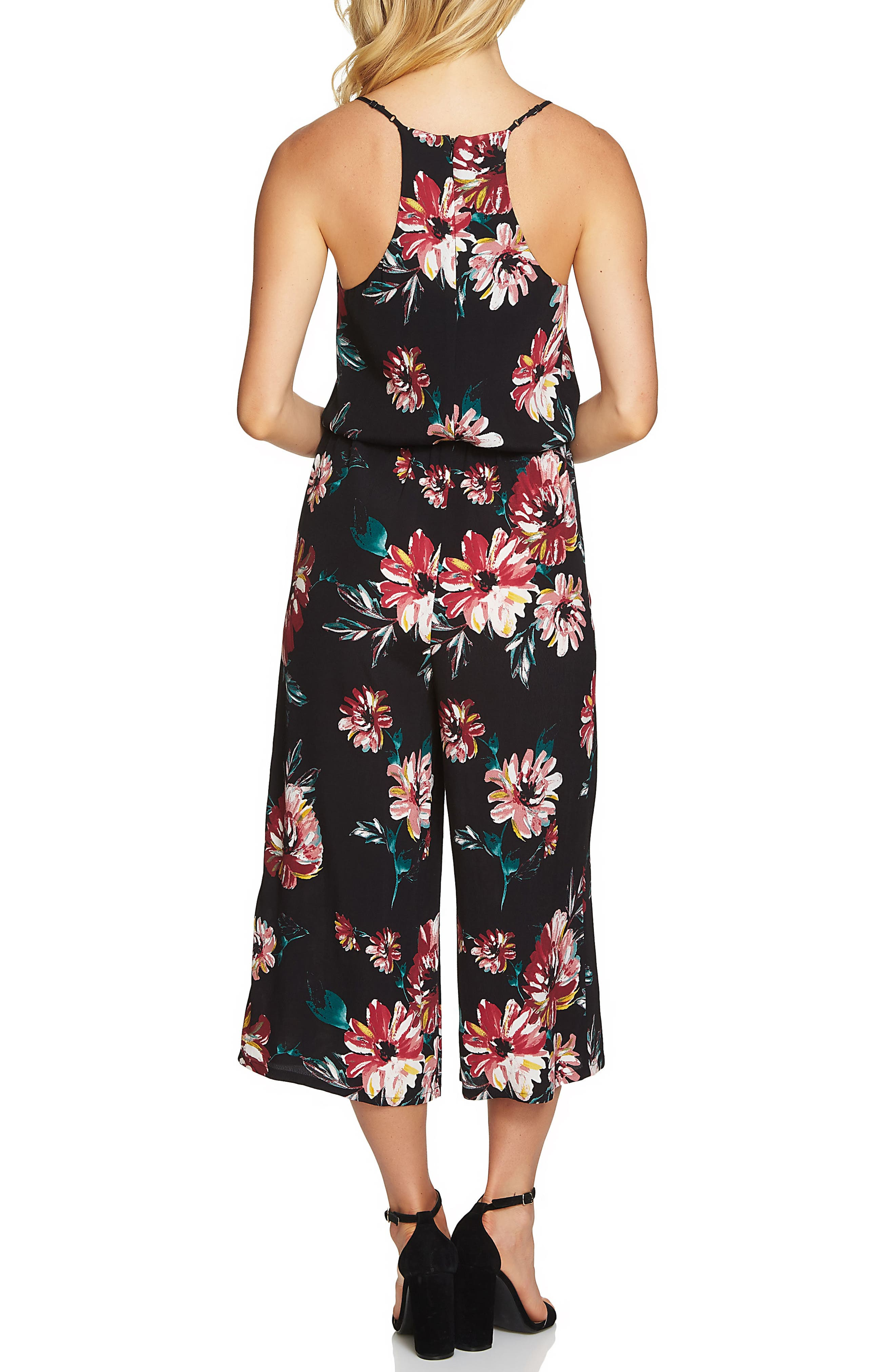 Floral Print Jumpsuit,                             Alternate thumbnail 2, color,                             Rich Black