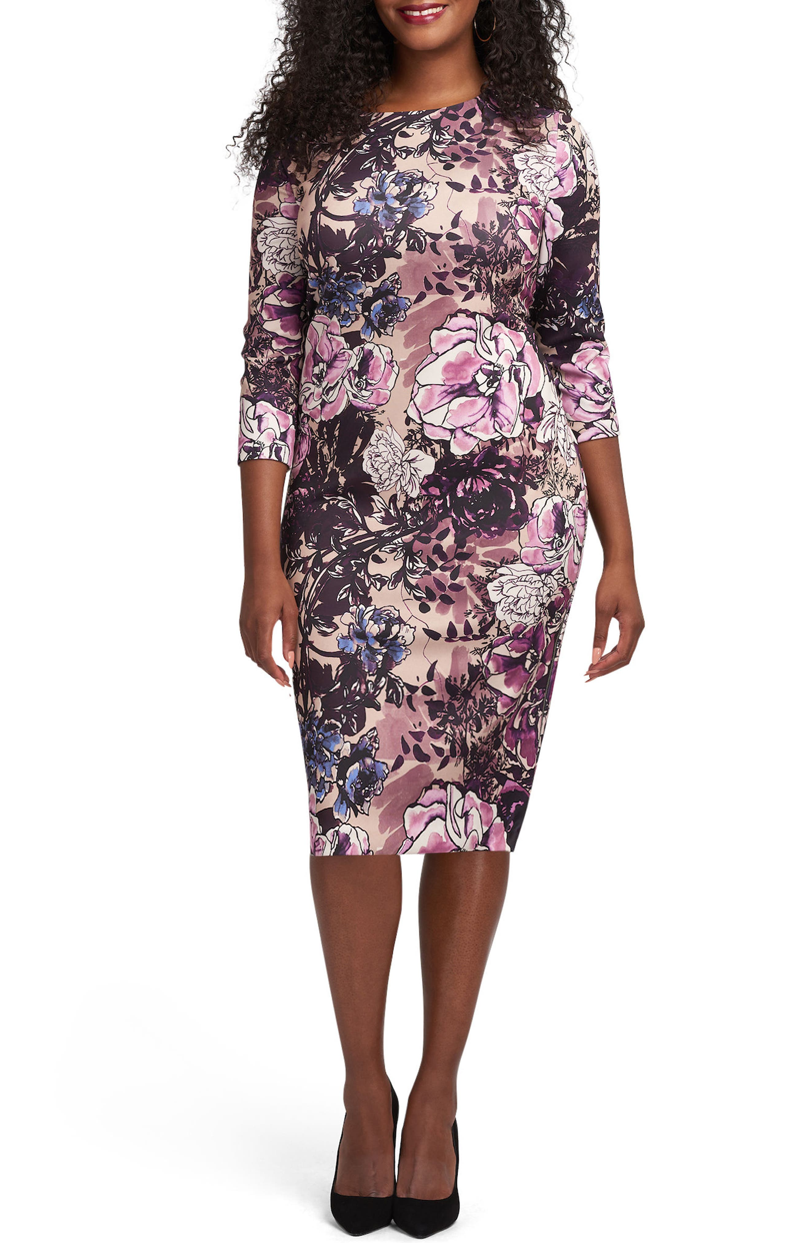 ECI Floral Print Bateau Neck Sheath Dress (Plus Size)