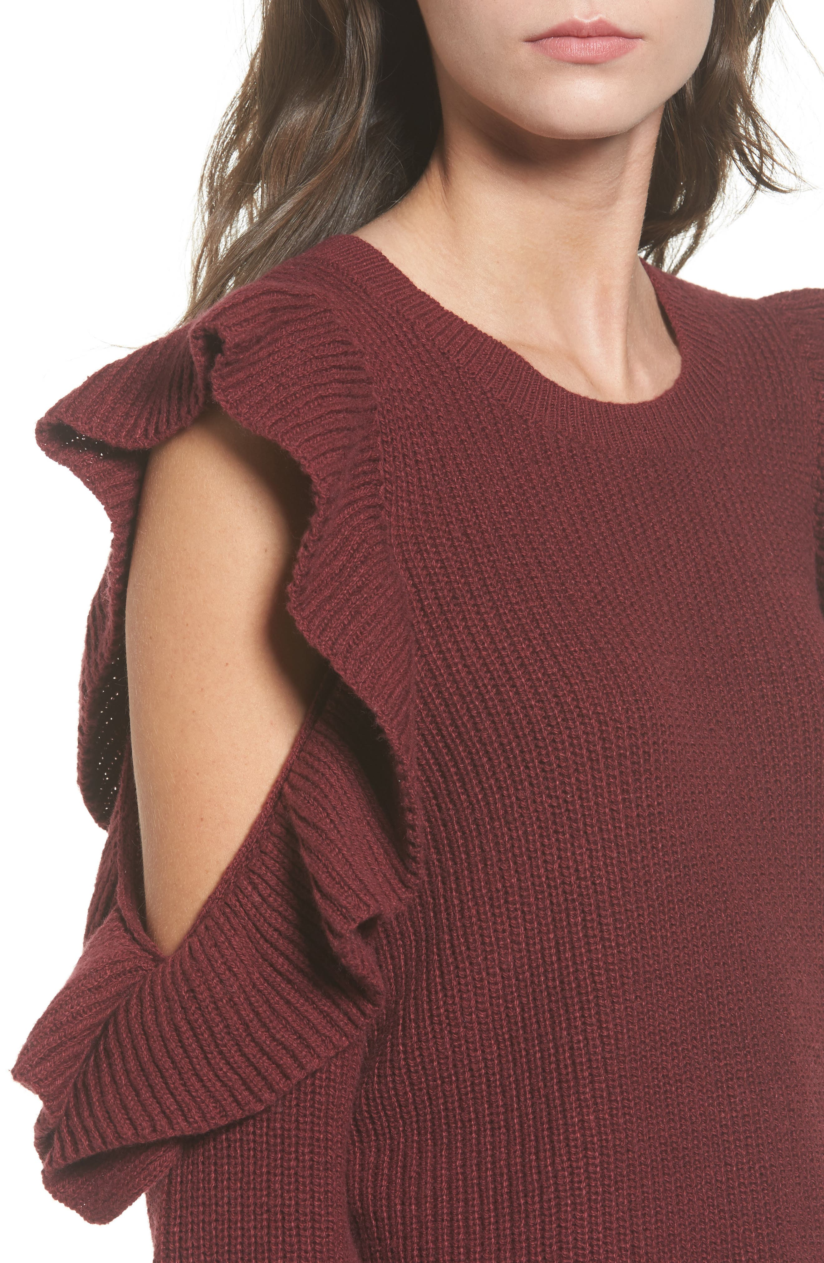 Alternate Image 4  - BP. Ruffle Cold Shoulder Sweater