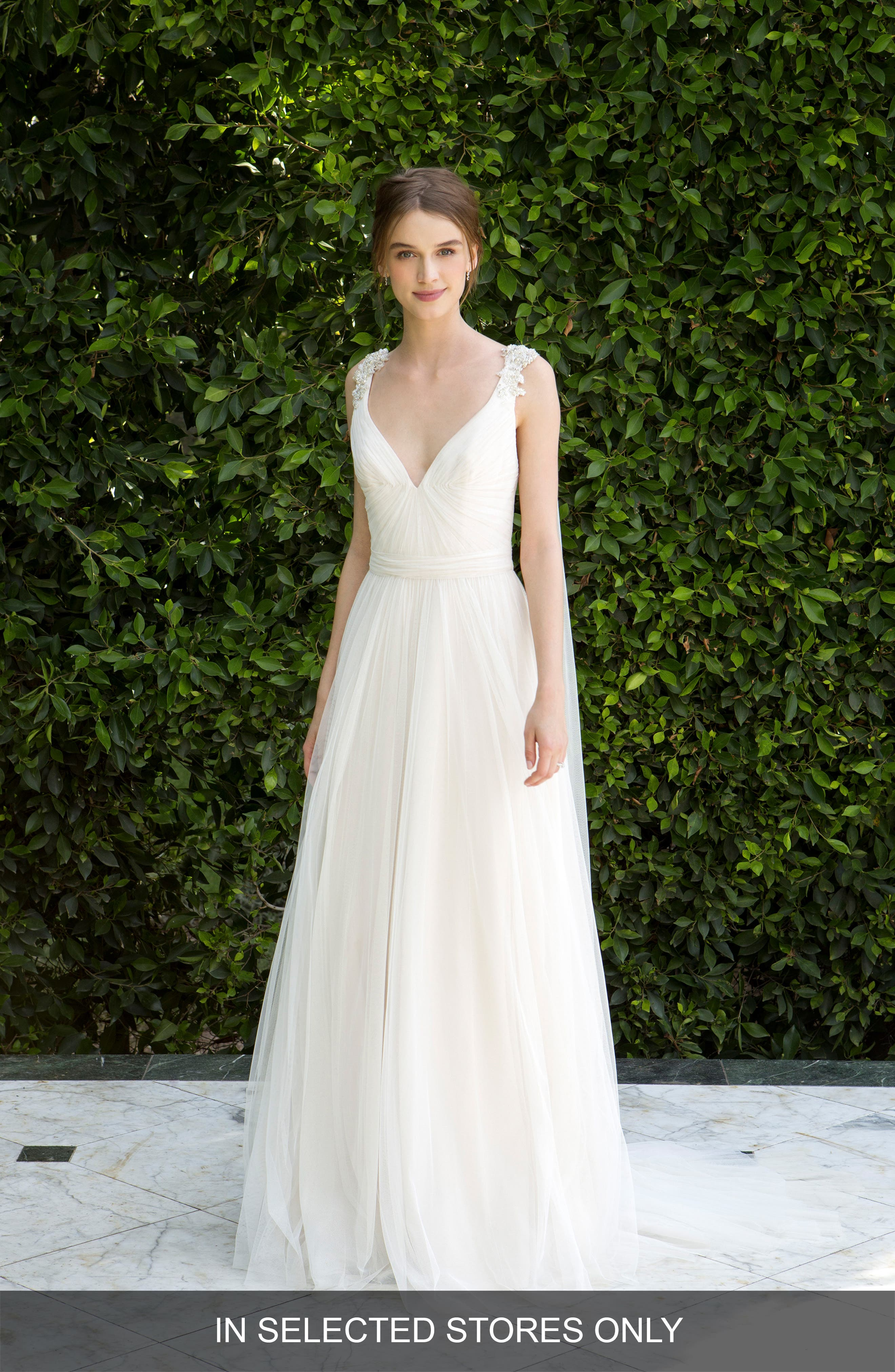 Beaded Soft Tulle Dress with Tails,                         Main,                         color, Silk White/Pearl