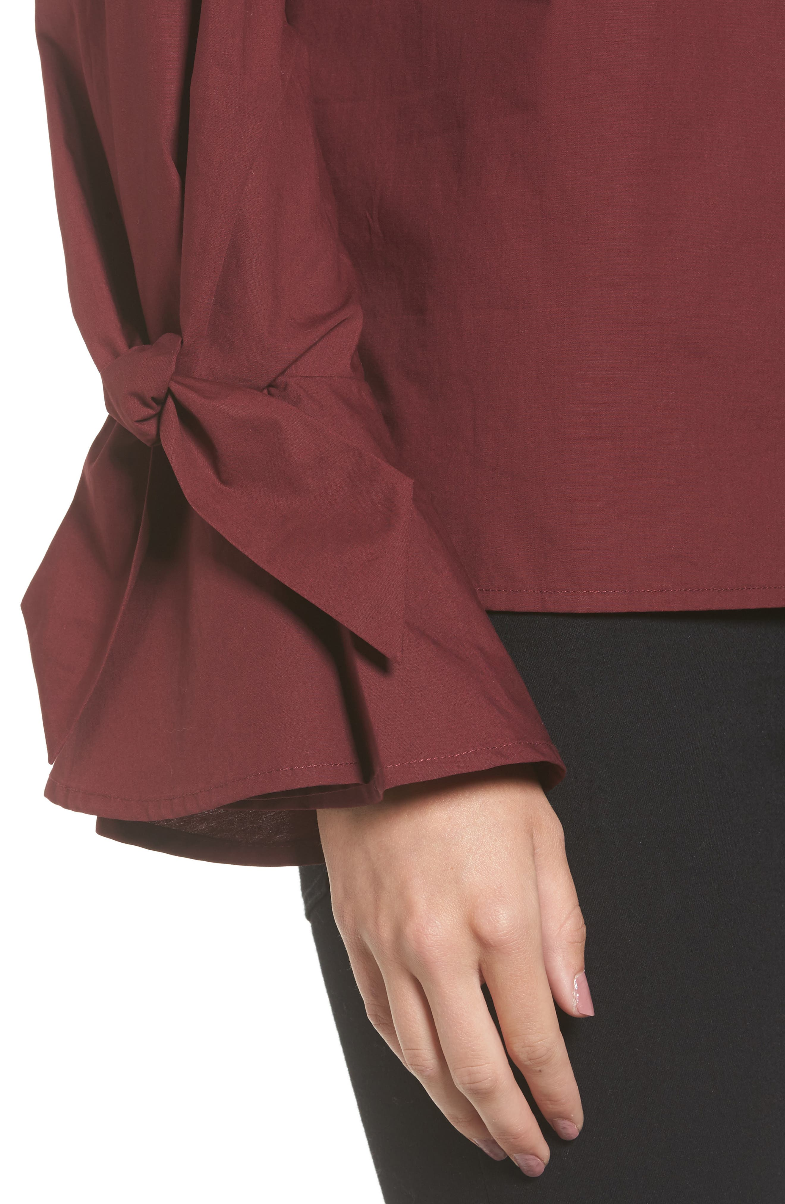 Alternate Image 4  - Soprano Tie Cuff Poplin Top