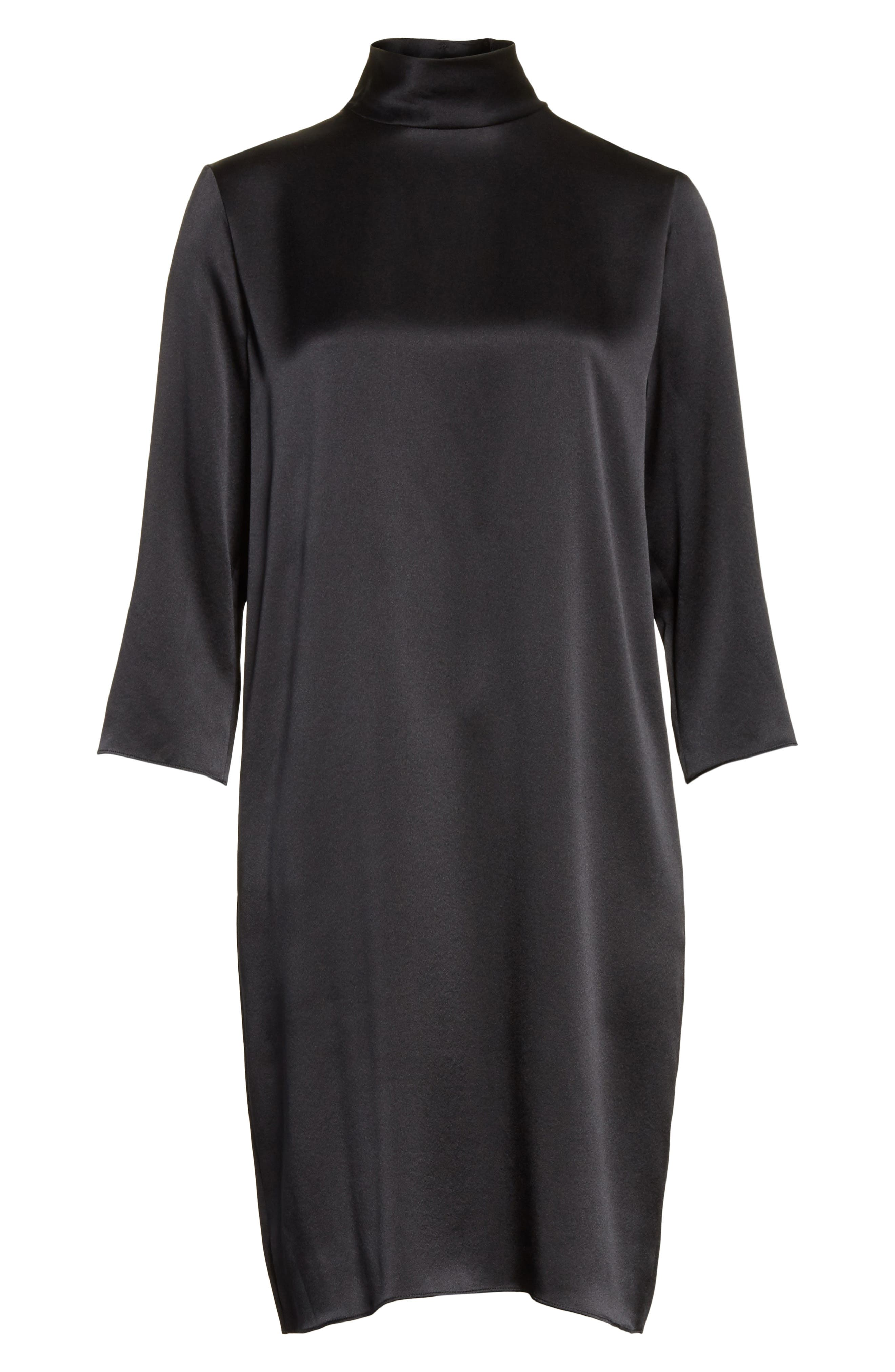 Mock Neck Silk Shift Dress,                             Alternate thumbnail 6, color,                             Black