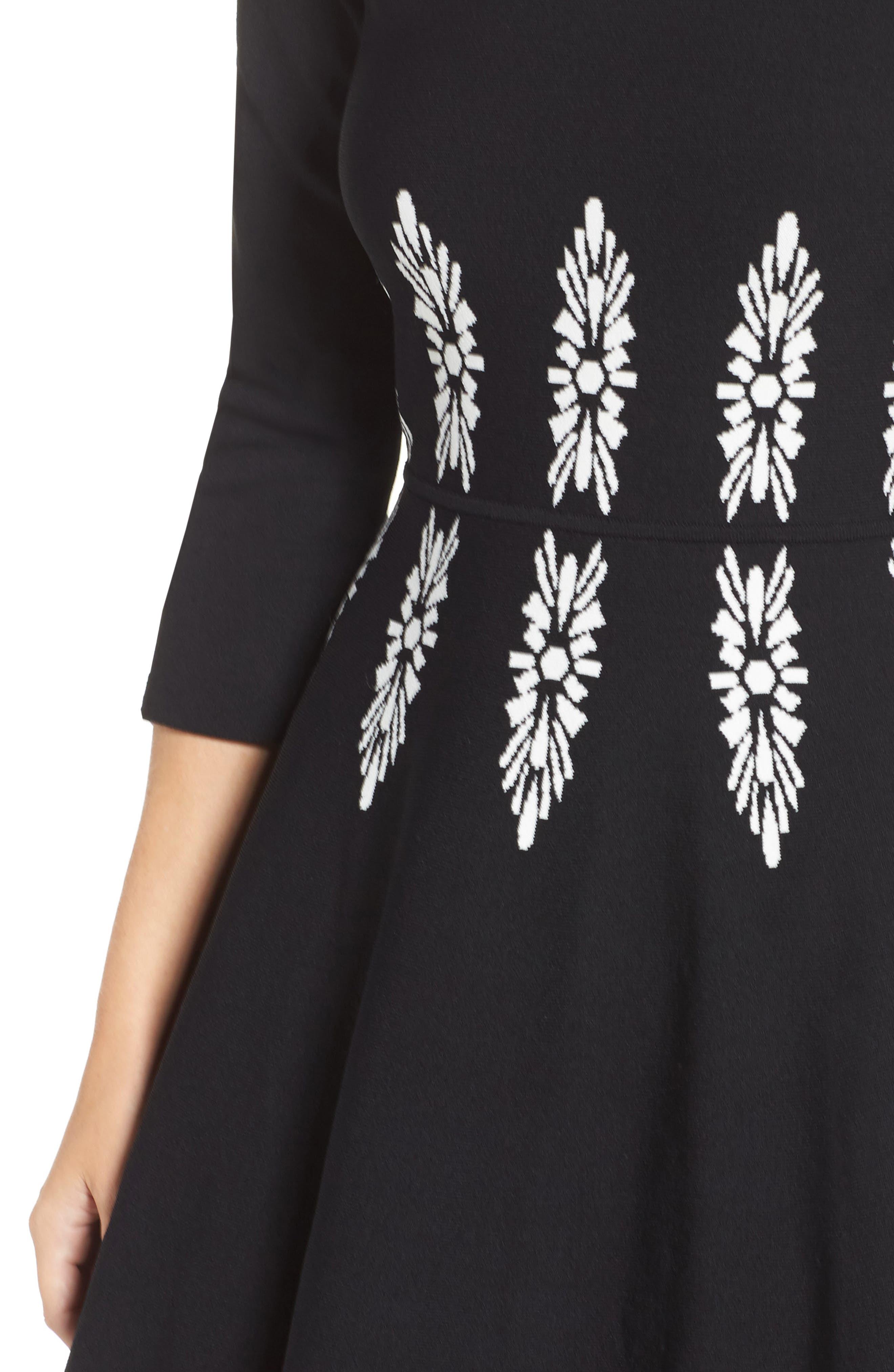 Alternate Image 4  - Eliza J Three-Quarter Sleeve Fit & Flare Dress