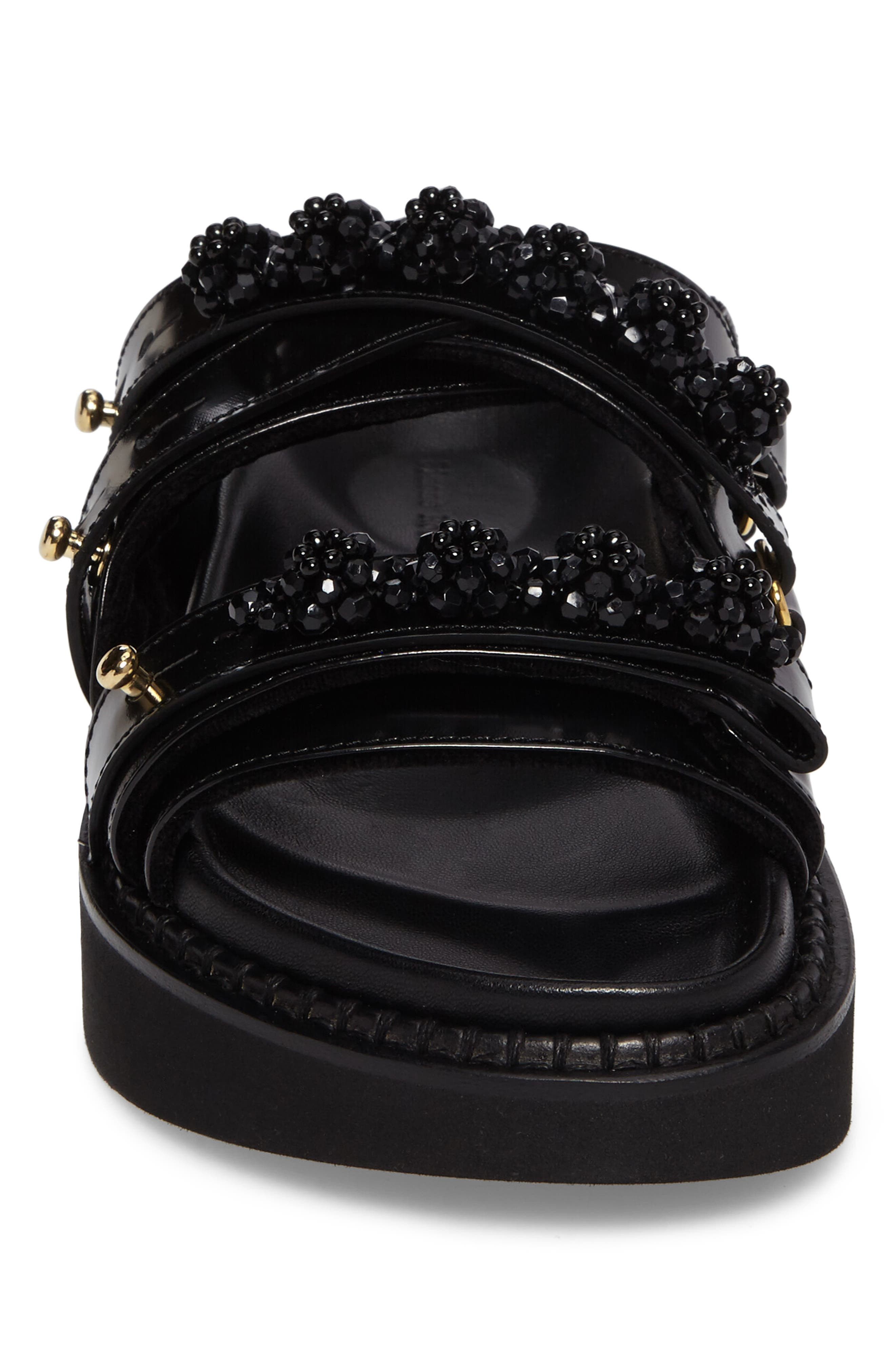Beaded Leather Slide Sandal,                             Alternate thumbnail 5, color,                             Black