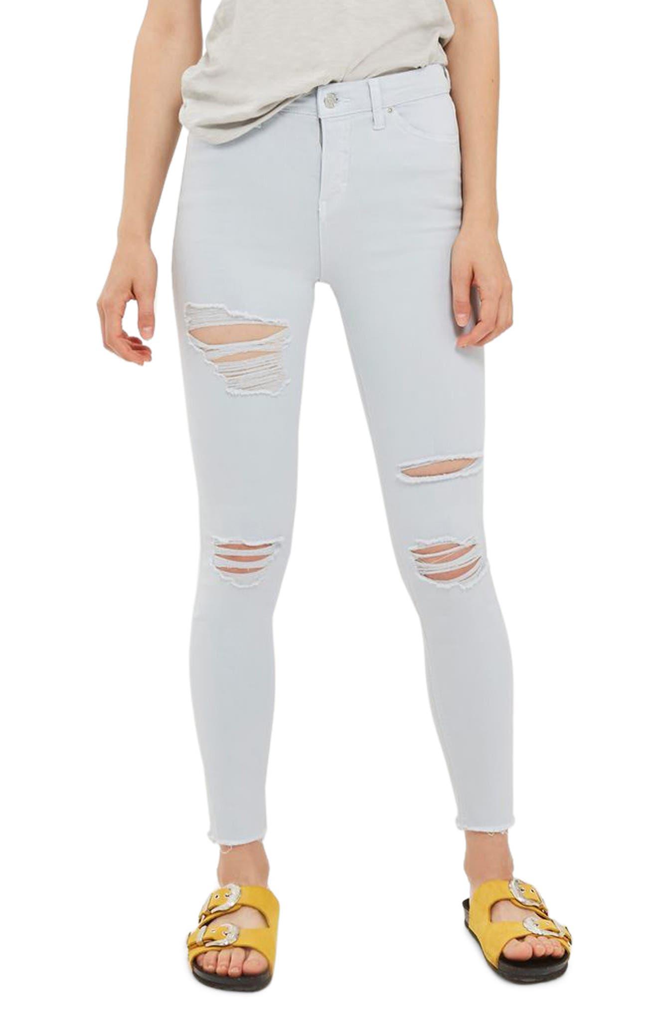 Jamie Super Rip Raw Hem Skinny Jeans,                             Main thumbnail 1, color,                             Baby Blue