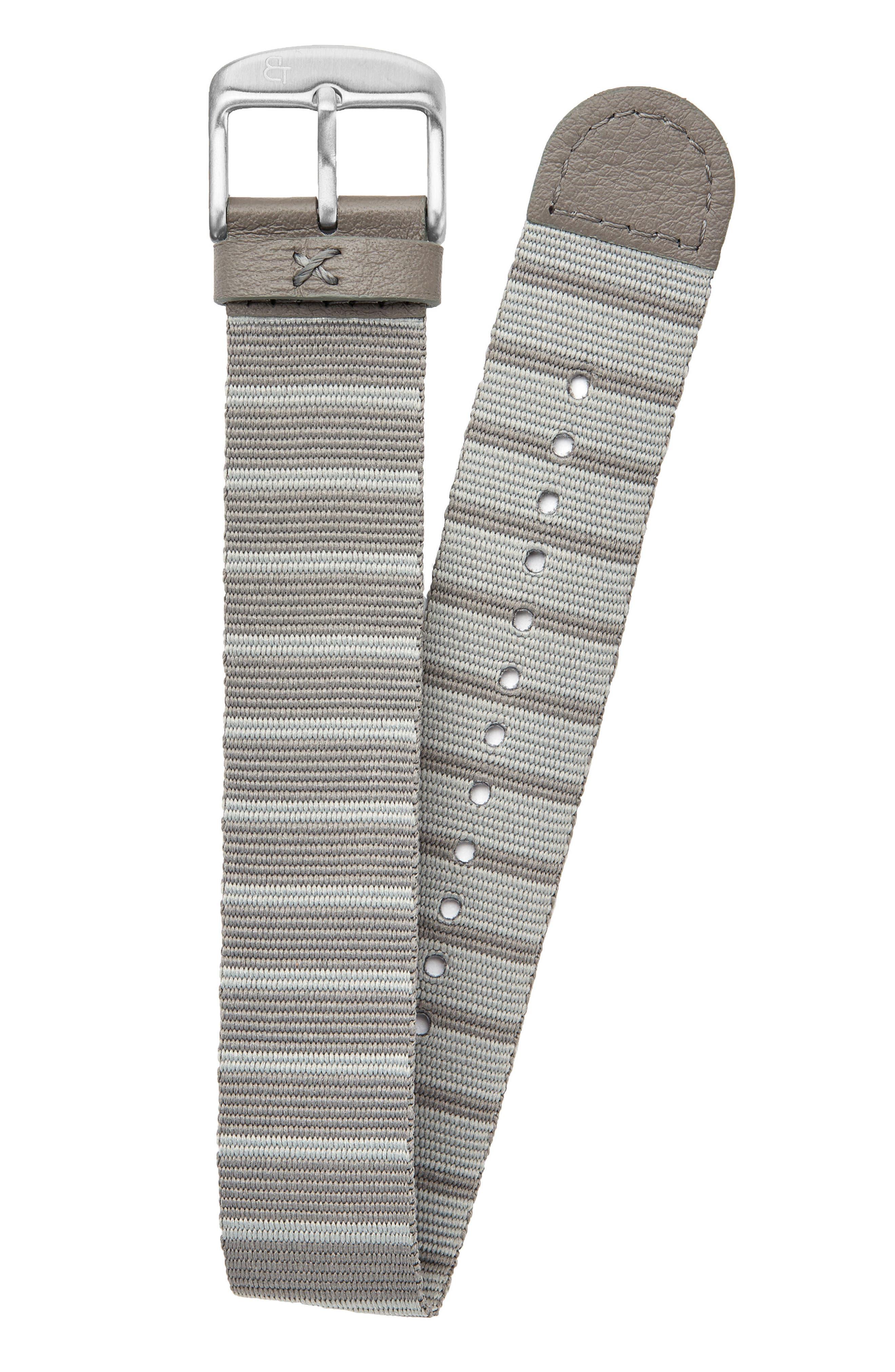 Nylon Watch Strap, 20mm,                         Main,                         color, Grey