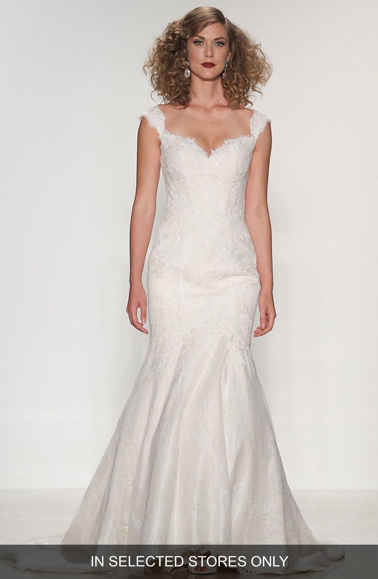 Loren Sweetheart Neck Silk Lace Trumpet Dress,                         Main,                         color, Deep Ivory/Off White