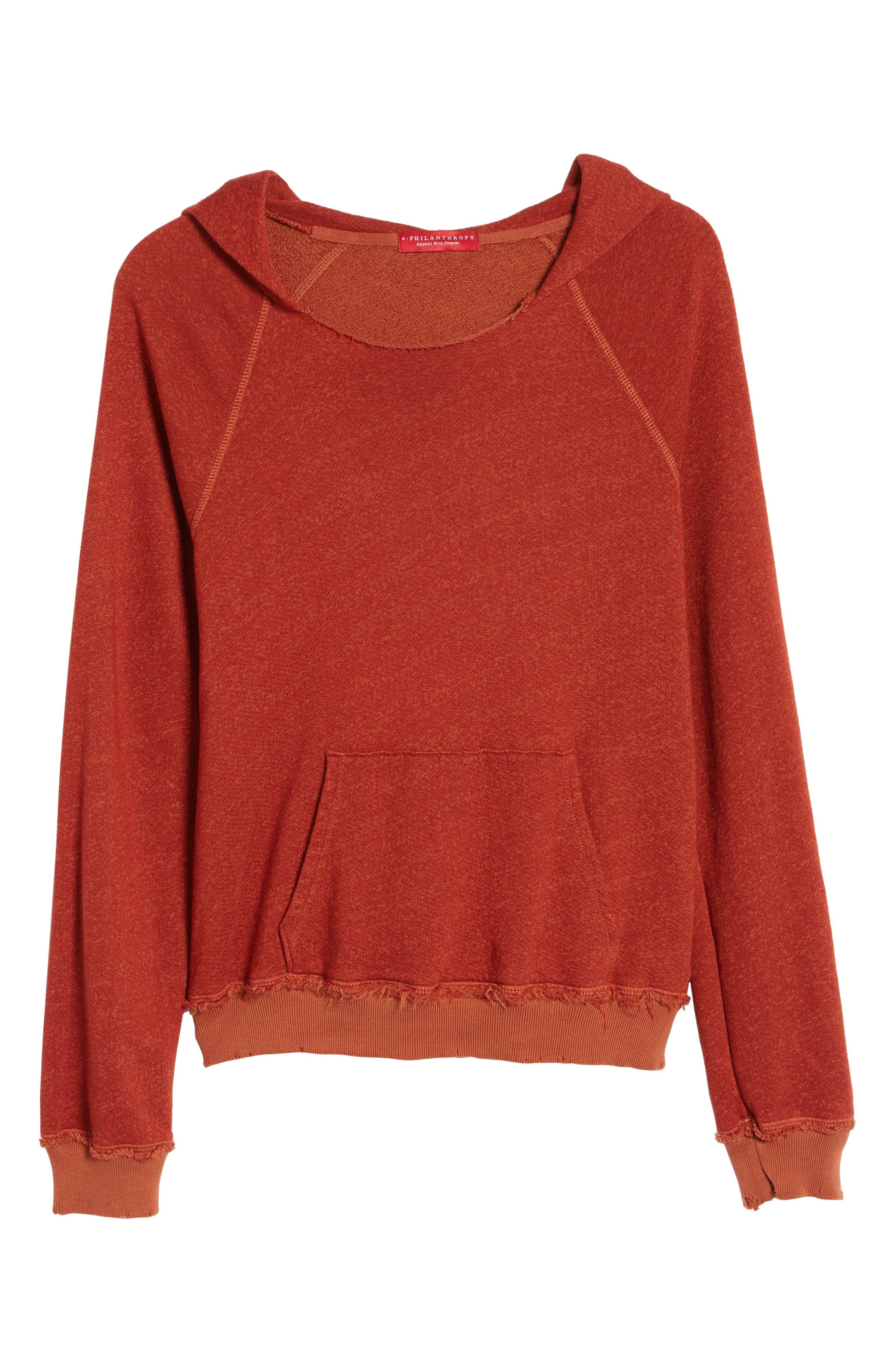 Penny Hooded Sweatshirt,                             Alternate thumbnail 6, color,                             Rust