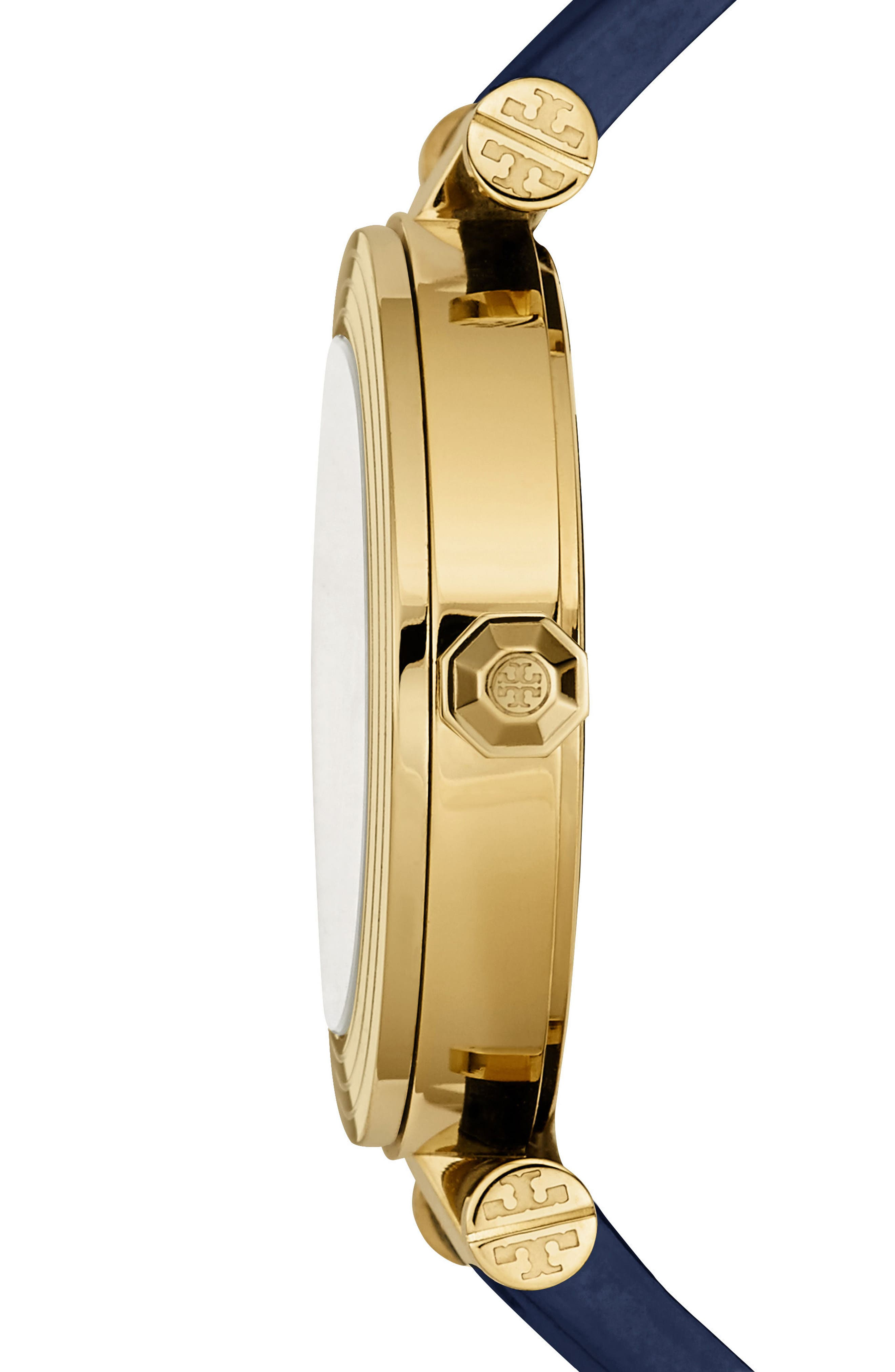 Classic-T Leather Strap Watch, 36mm,                             Alternate thumbnail 2, color,                             Navy/ Ivory/ Gold