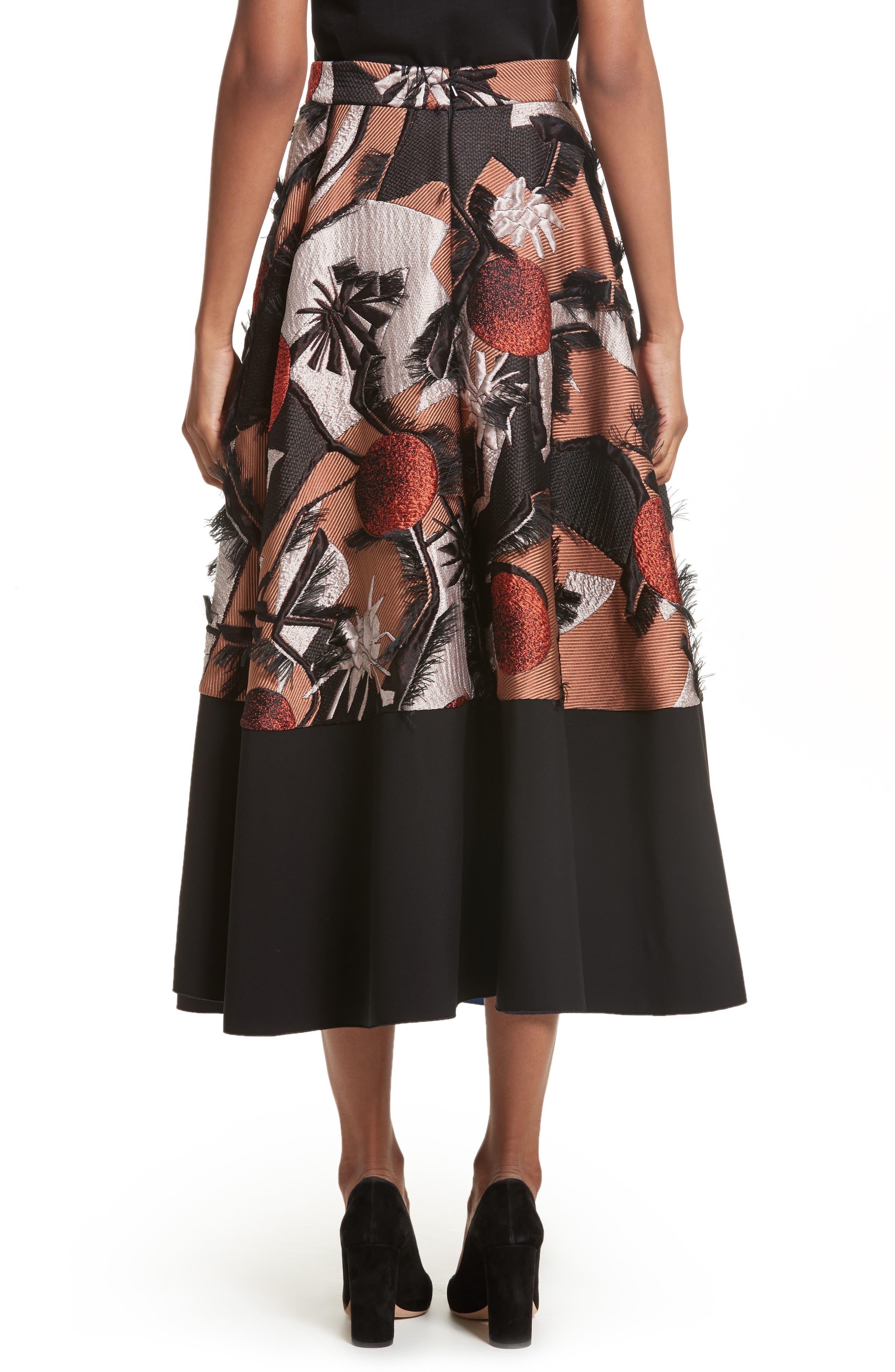 Sharpin Silk Blend Jacquard Skirt,                             Alternate thumbnail 2, color,                             Black Orange Blue