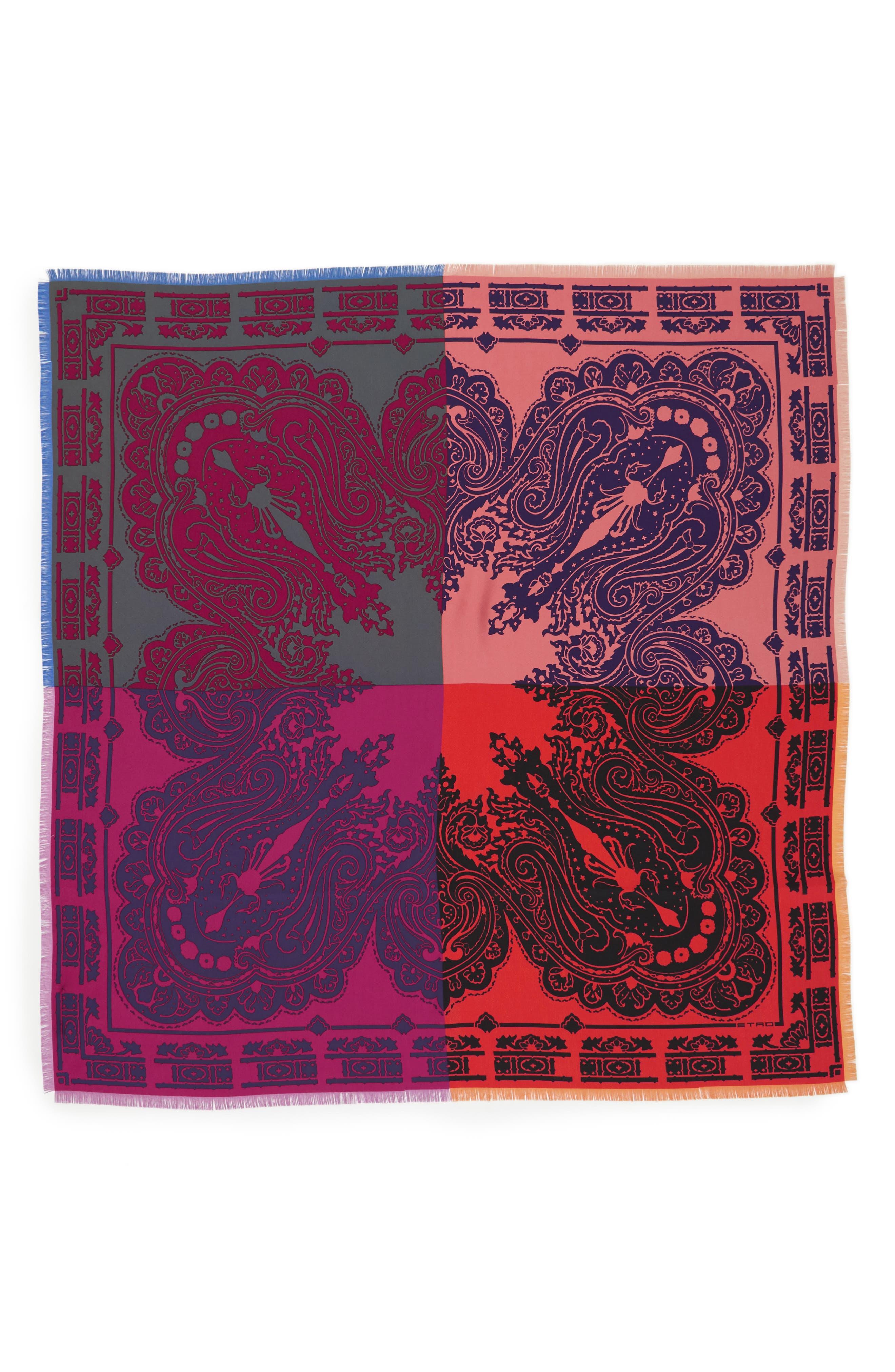 Etro Colorblock Paisley Silk Scarf