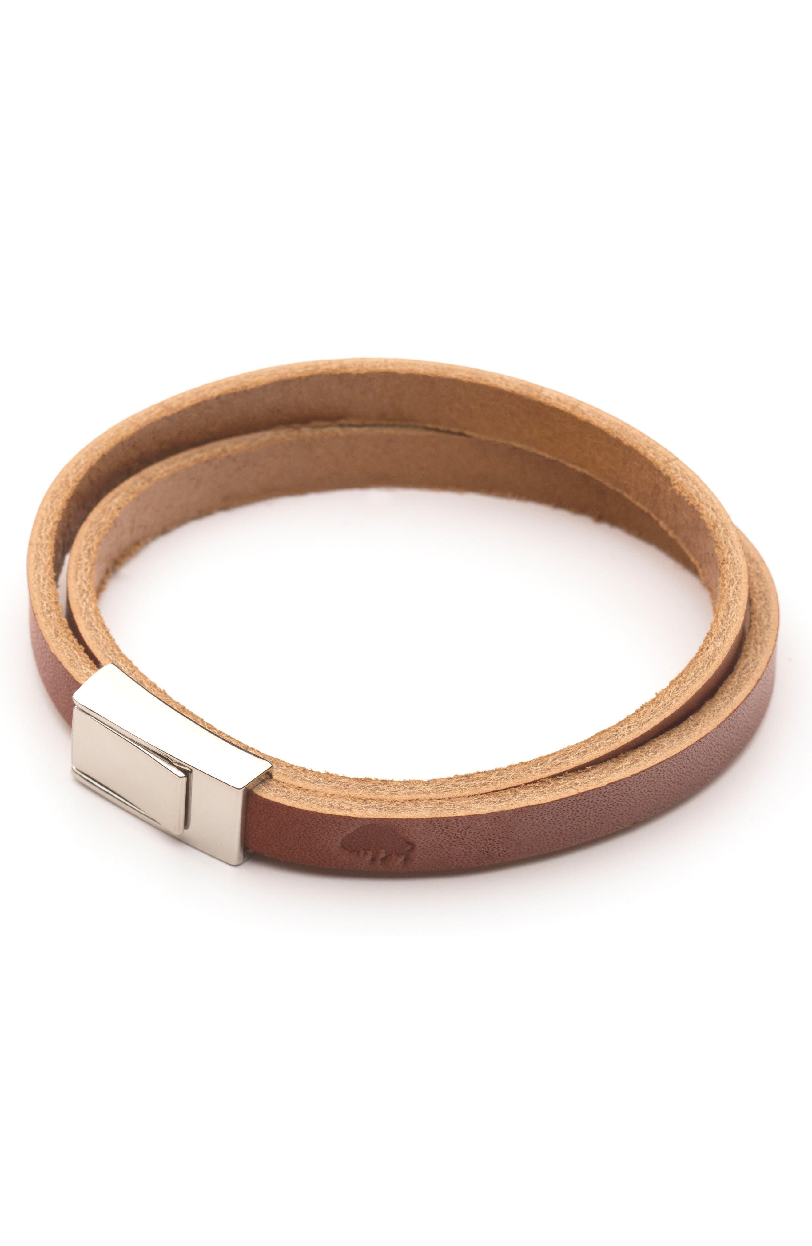 Double Wrap Leather Bracelet,                         Main,                         color, Cognac