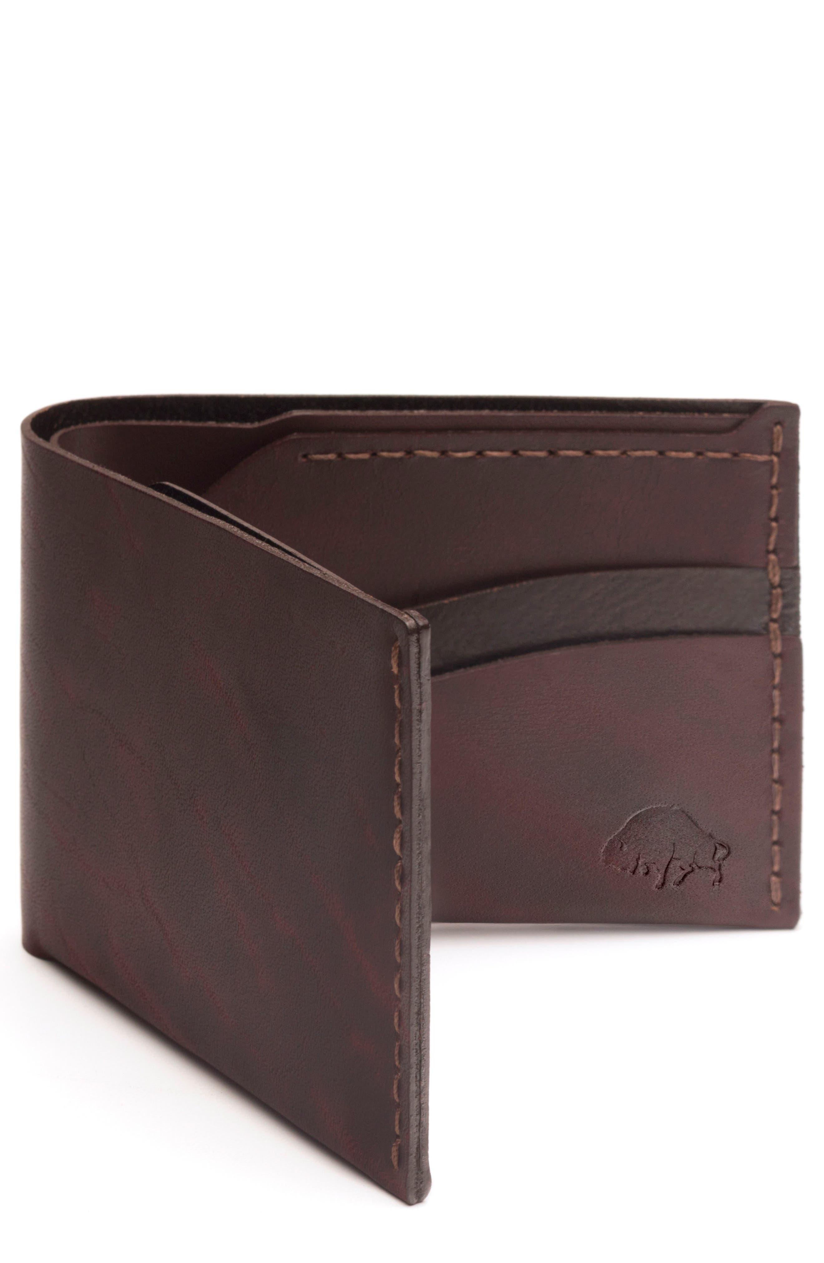No. 6 Leather Wallet,                             Main thumbnail 1, color,                             Malbec