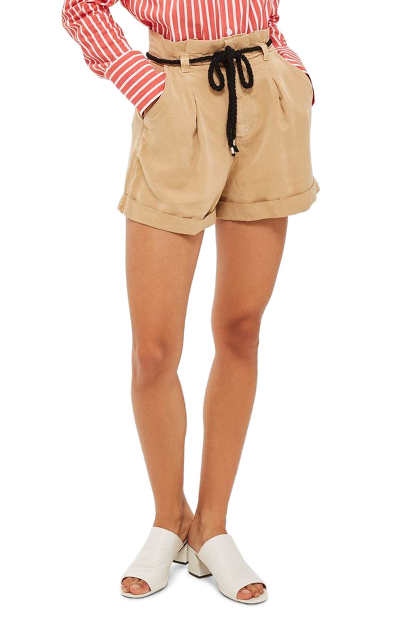 Topshop Rope Belt Cotton Shorts