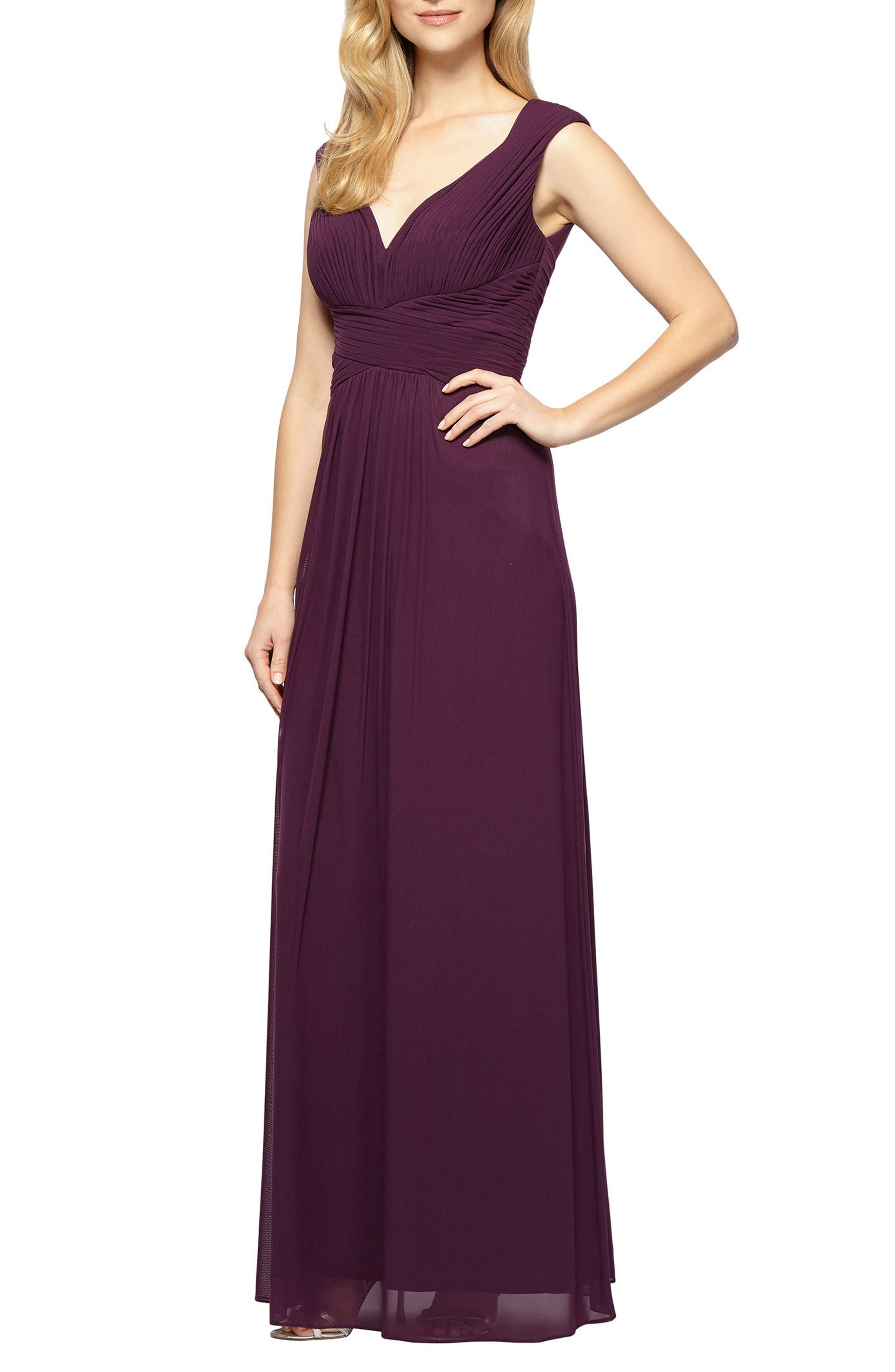 A-Line Gown,                             Main thumbnail 1, color,                             Plum