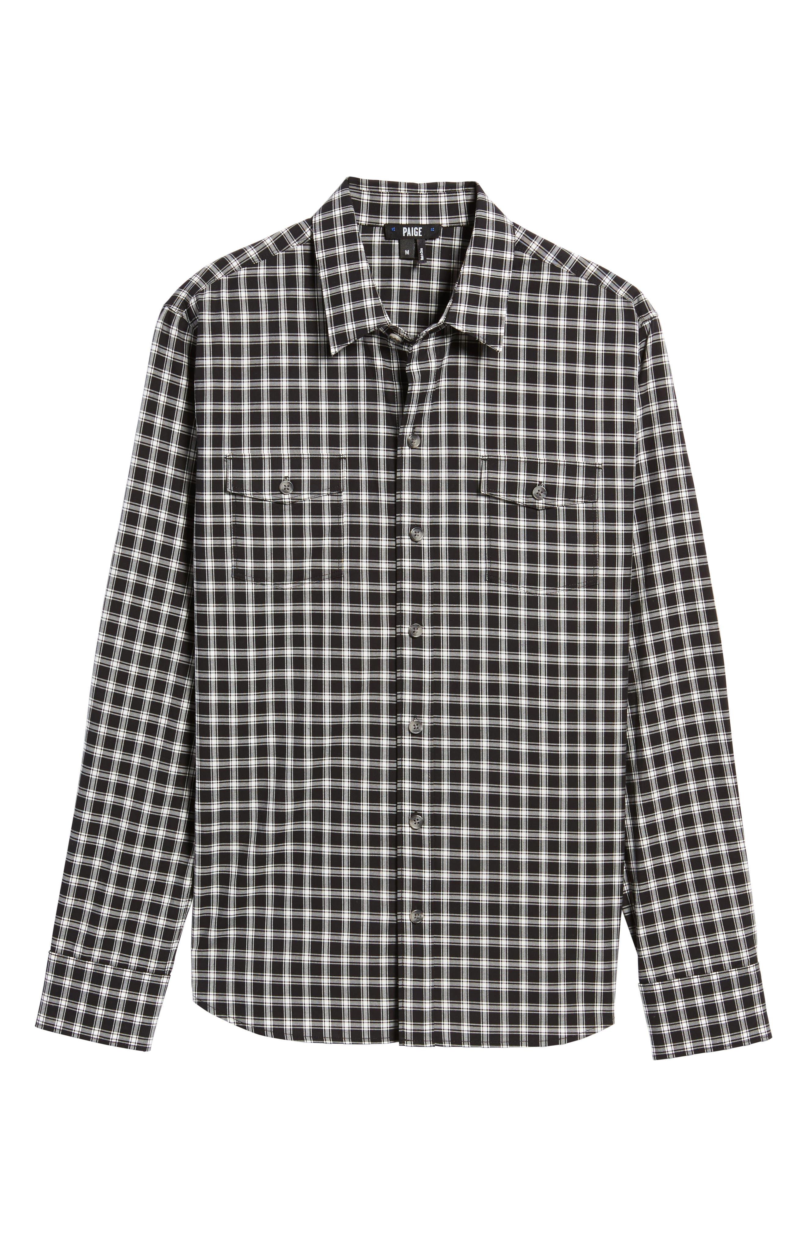 Everett Check Sport Shirt,                             Alternate thumbnail 5, color,                             Black Slate