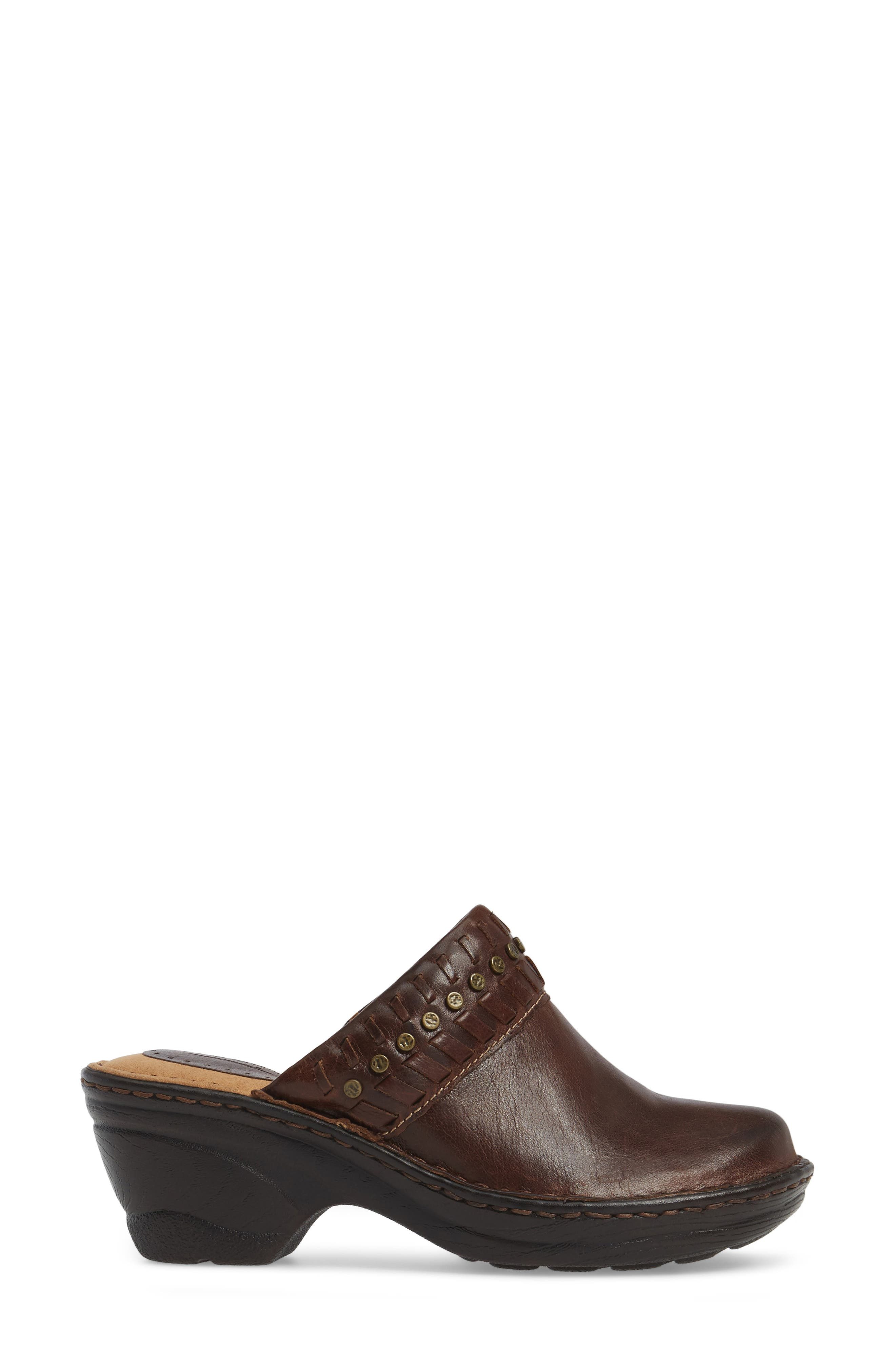 Lorain Clog,                             Alternate thumbnail 3, color,                             Bridle Brown Leather