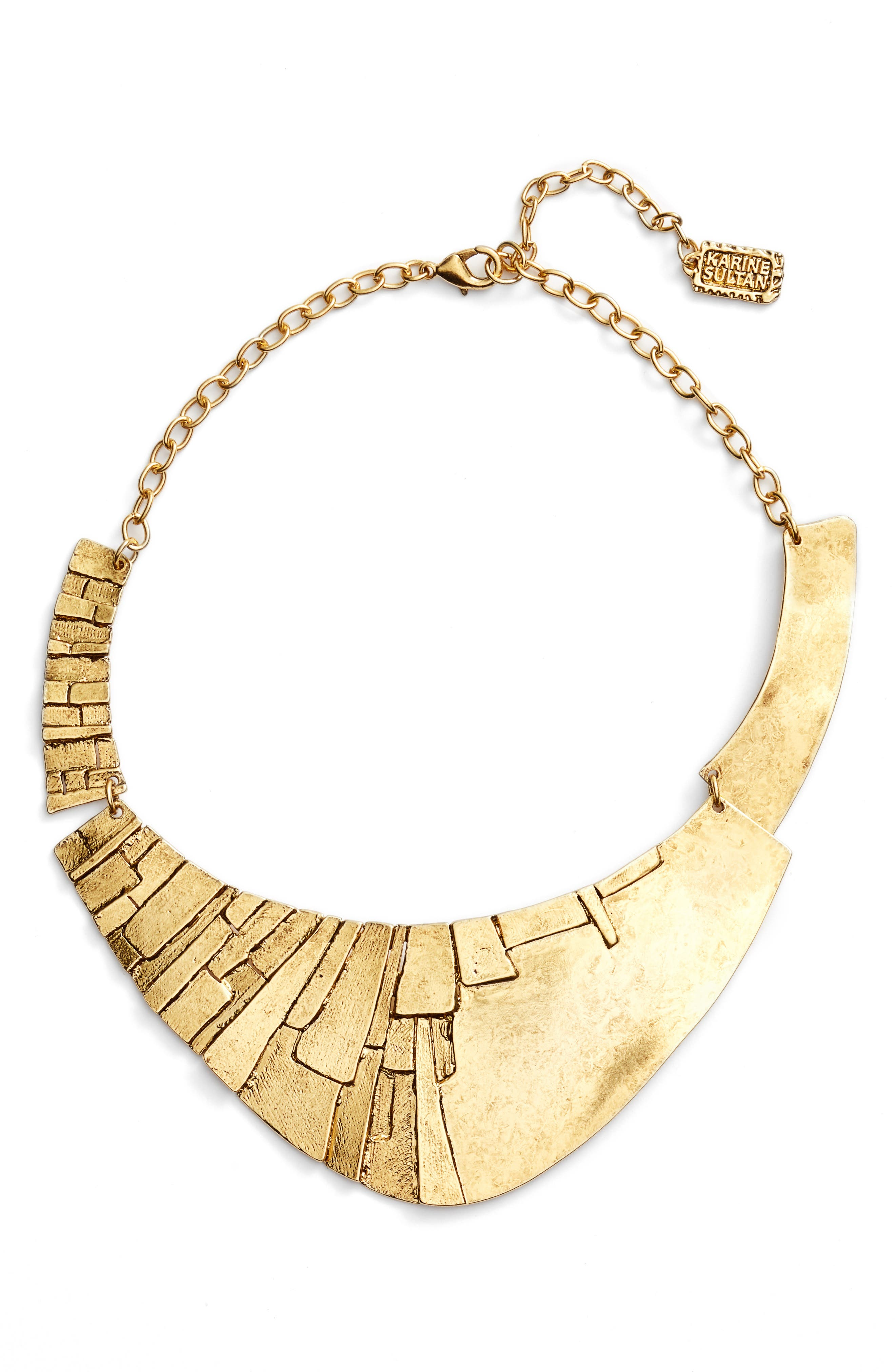 Statement Collar Necklace,                         Main,                         color, Gold