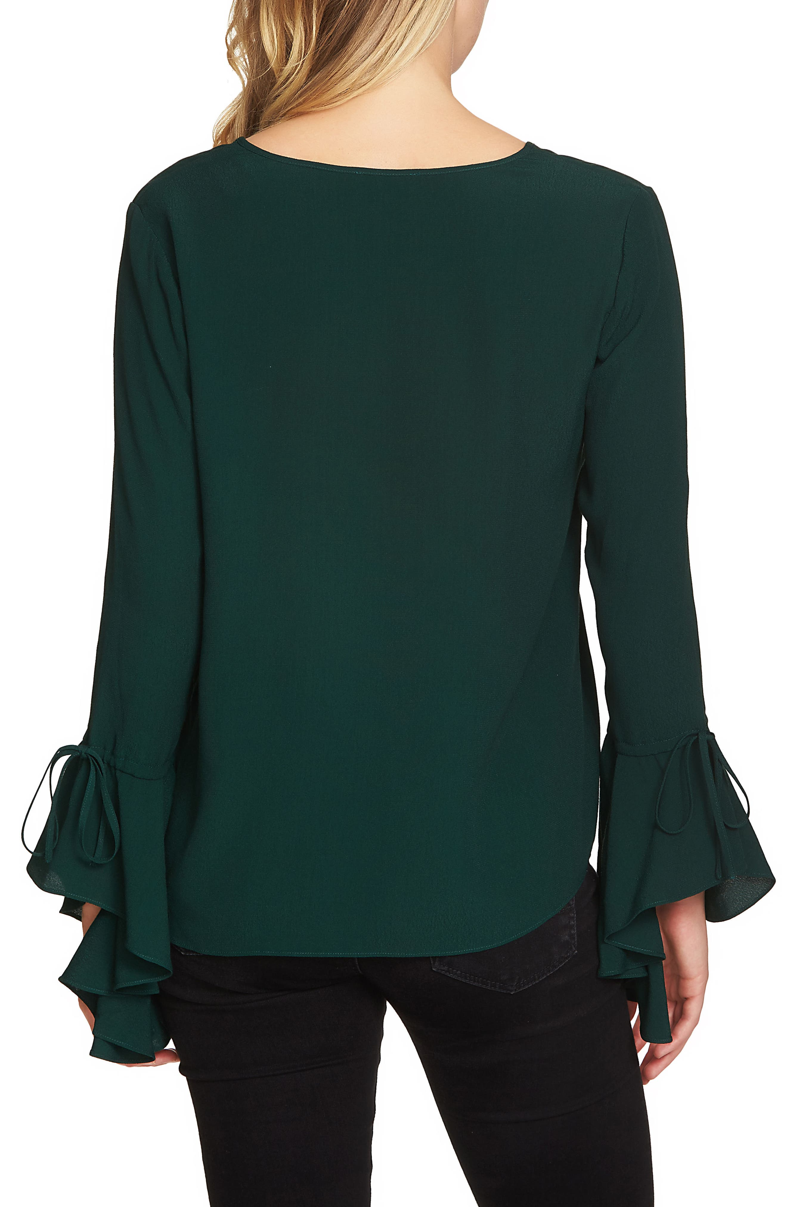 Cascade Sleeve Blouse,                             Alternate thumbnail 2, color,                             Jasper Green