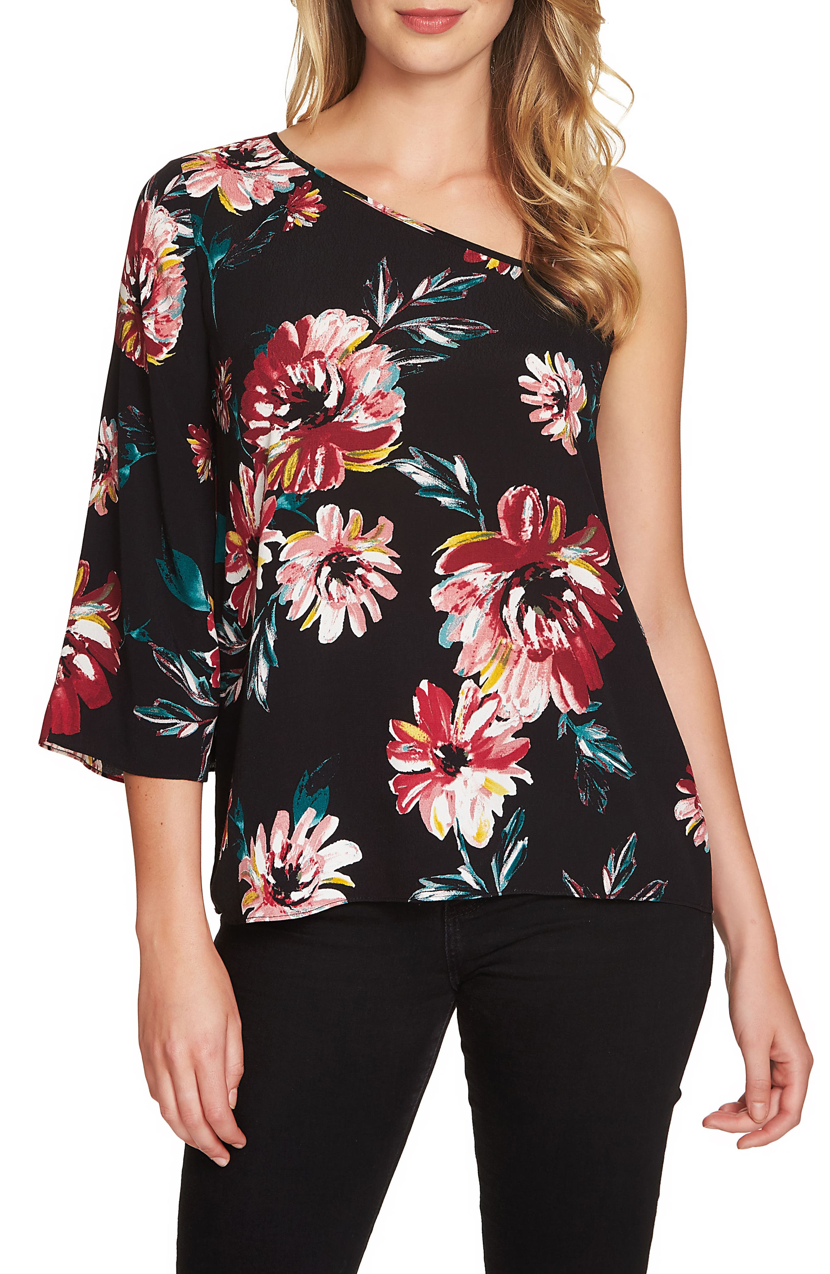 Floral One-Shoulder Top,                             Main thumbnail 1, color,                             Rich Black