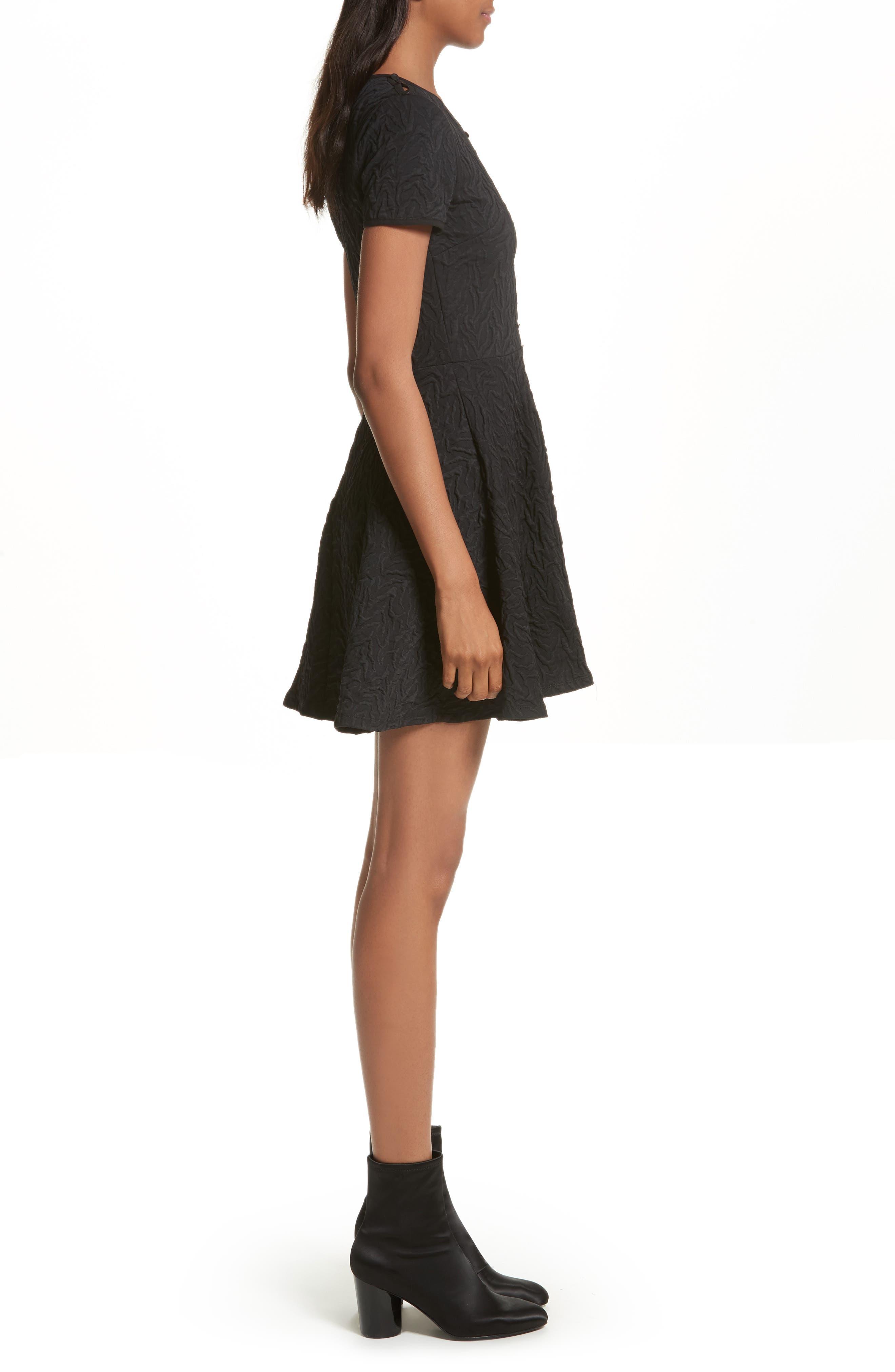 Desert Jacquard Flare Dress,                             Alternate thumbnail 3, color,                             Black