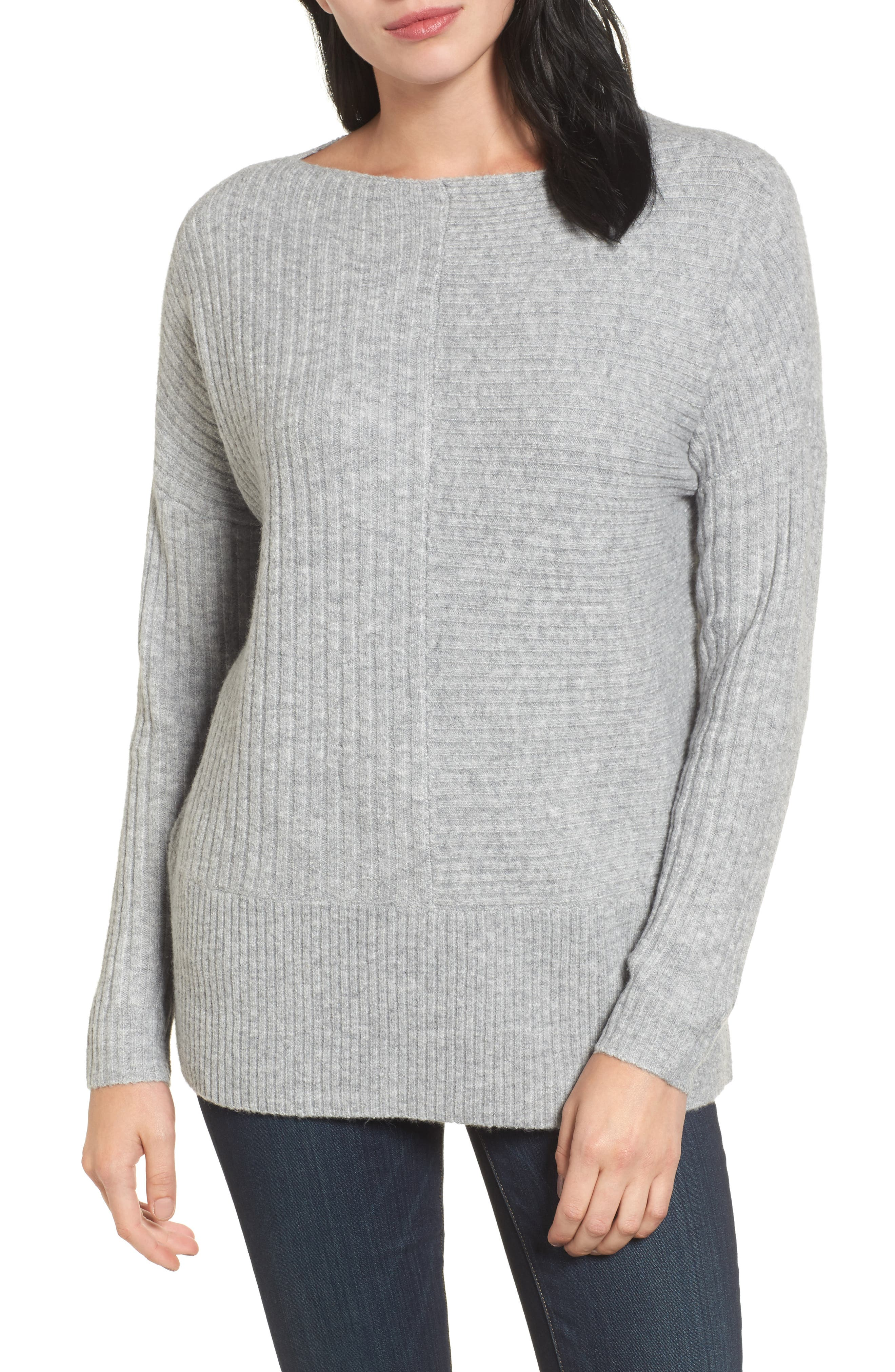 Multi Ribbed Fleece Knit Sweater,                         Main,                         color, Heather Grey
