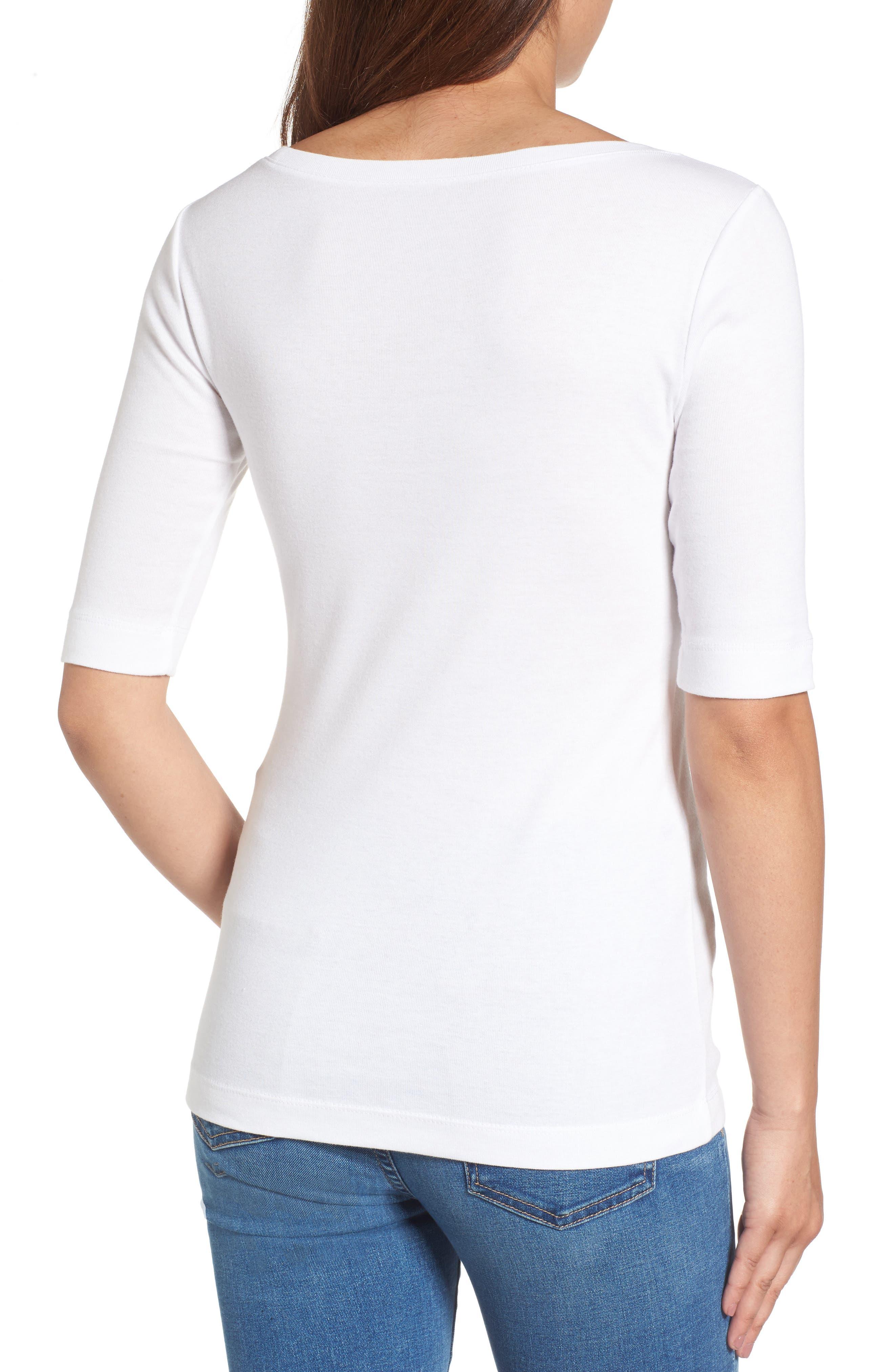 874864d5064aa elbow sleeve scoop neck top