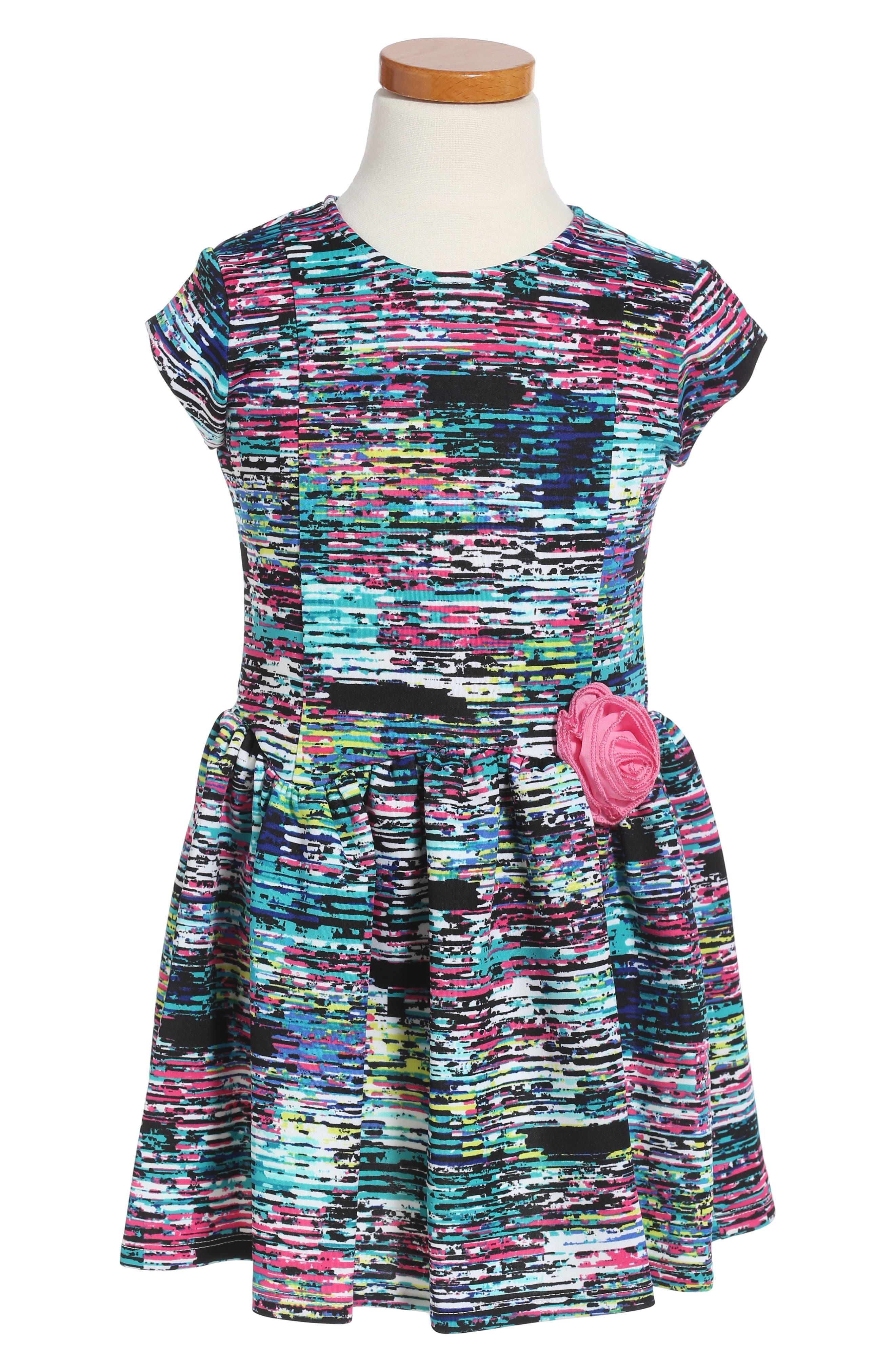 Print Scuba Dress,                         Main,                         color, Black Multi