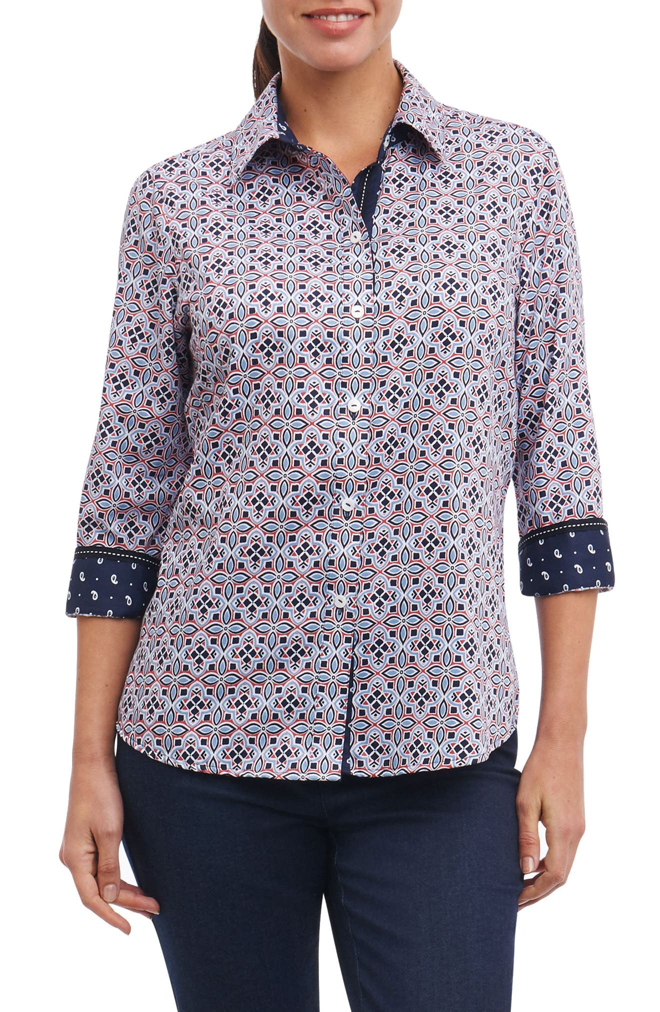 Ava Non-Iron Tile Print Cotton Shirt,                             Main thumbnail 1, color,                             Multi