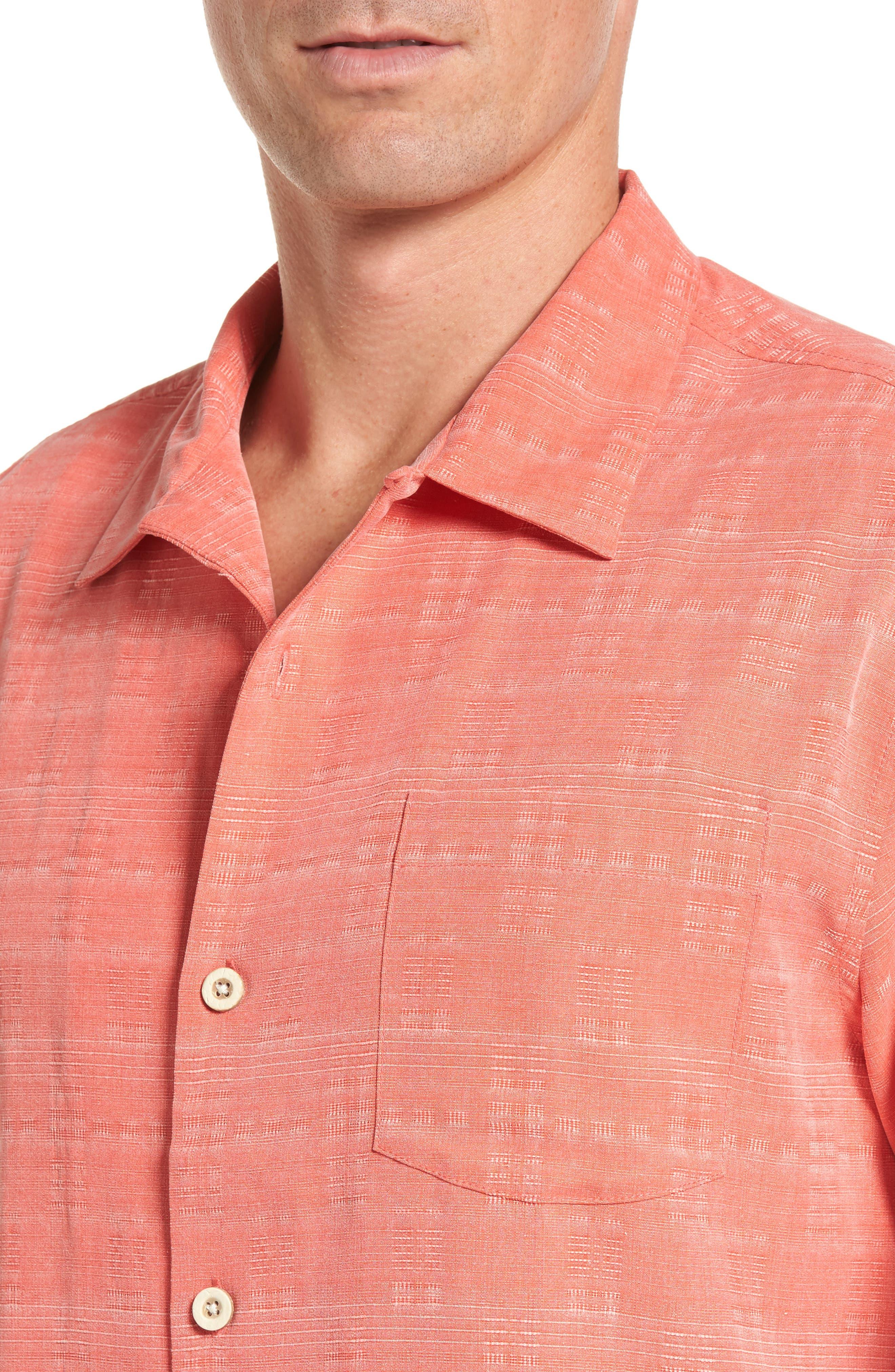 'Geo-Rific Jacquard' Original Fit Silk Camp Shirt,                             Alternate thumbnail 4, color,                             Fusion