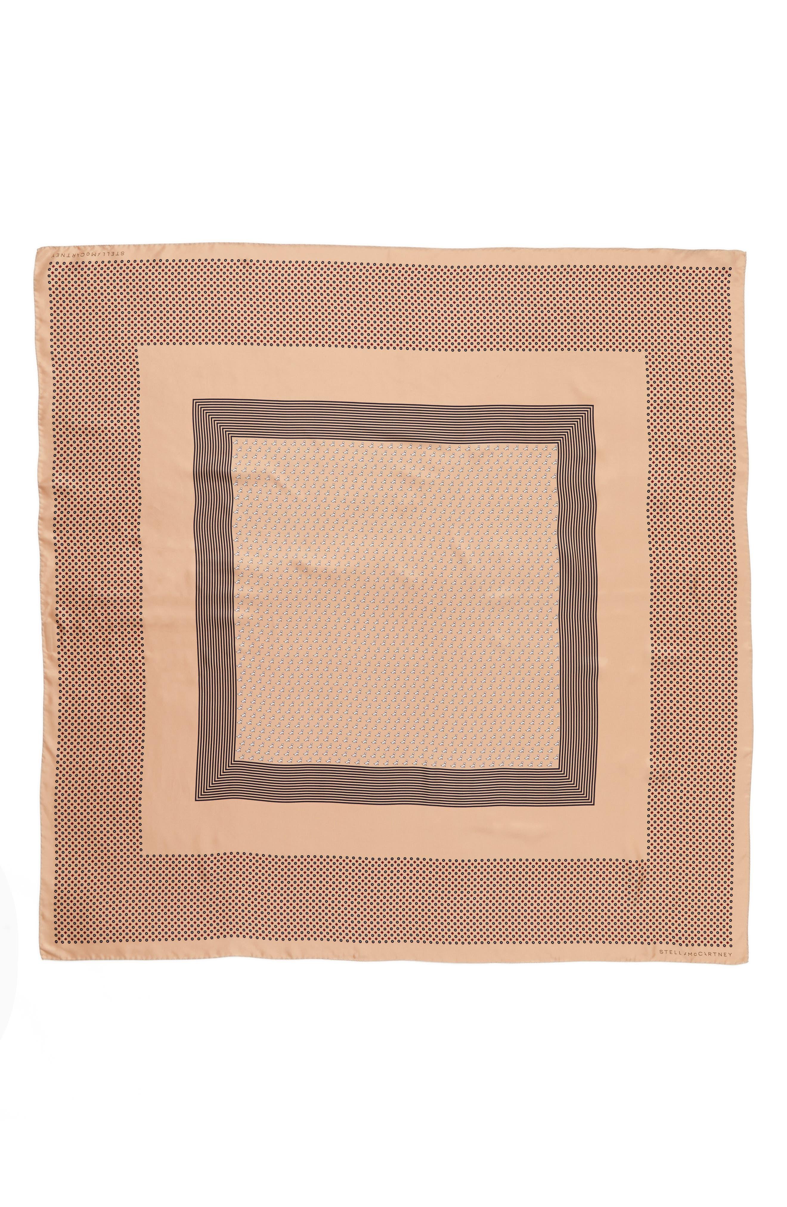 Mixed Print Silk Scarf,                         Main,                         color, Camel
