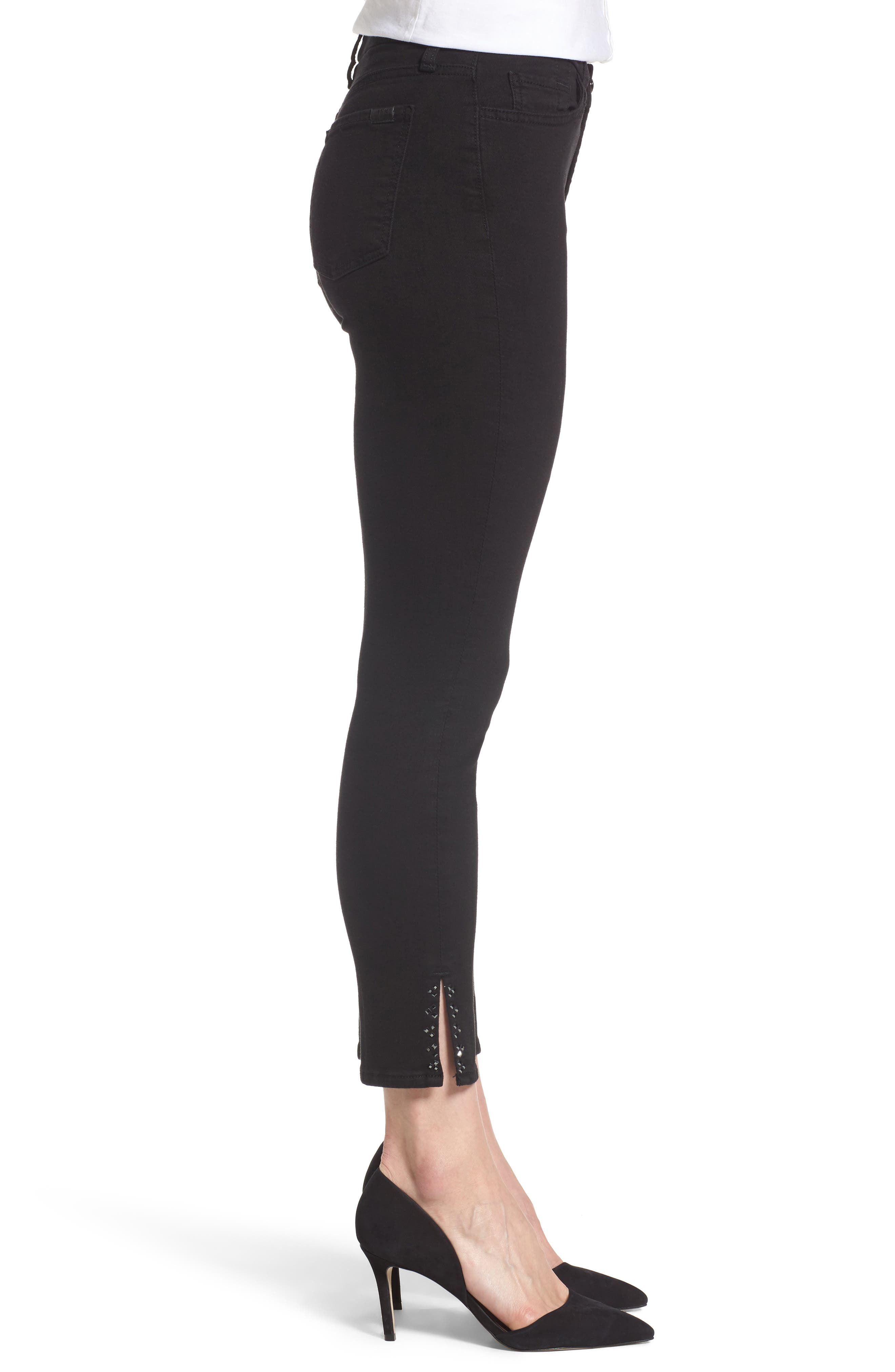 Embellished Side Slit Skinny Ankle Jeans,                             Alternate thumbnail 3, color,                             Riche Touch Black Noir