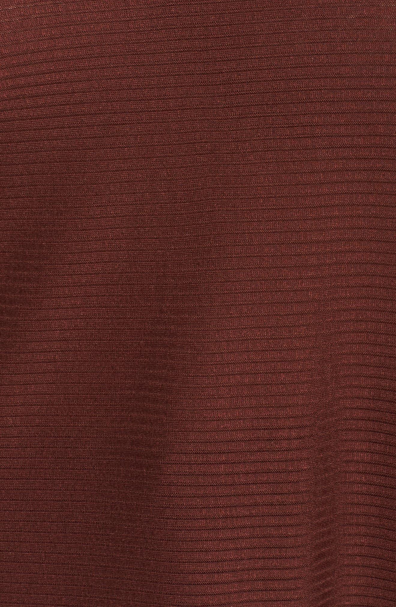 Mock Neck Rib Knit Top,                             Alternate thumbnail 5, color,                             Rum Raisin