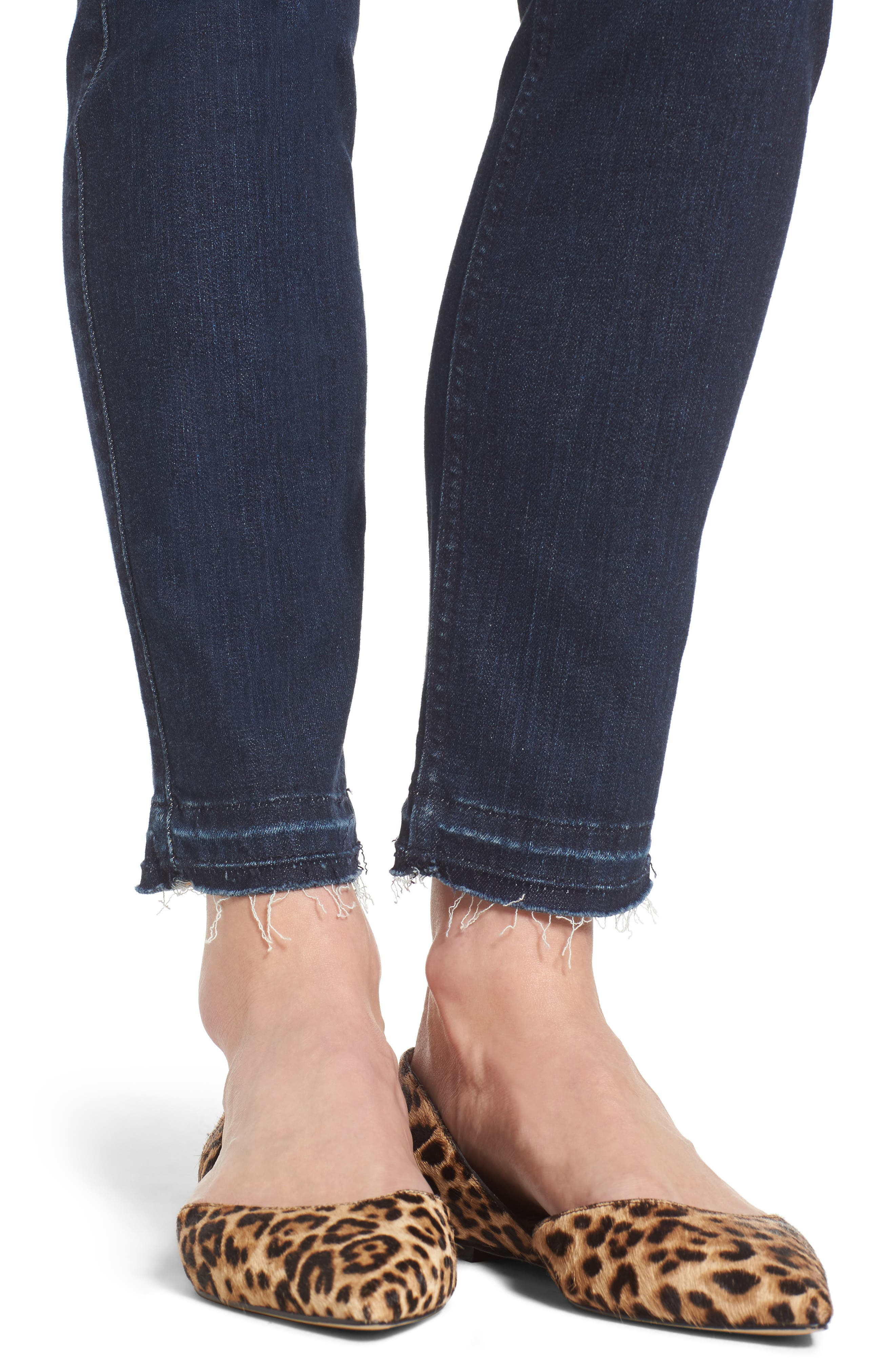 Release Hem Stretch Ankle Skinny Jeans,                             Alternate thumbnail 4, color,                             Prague Deep Blue