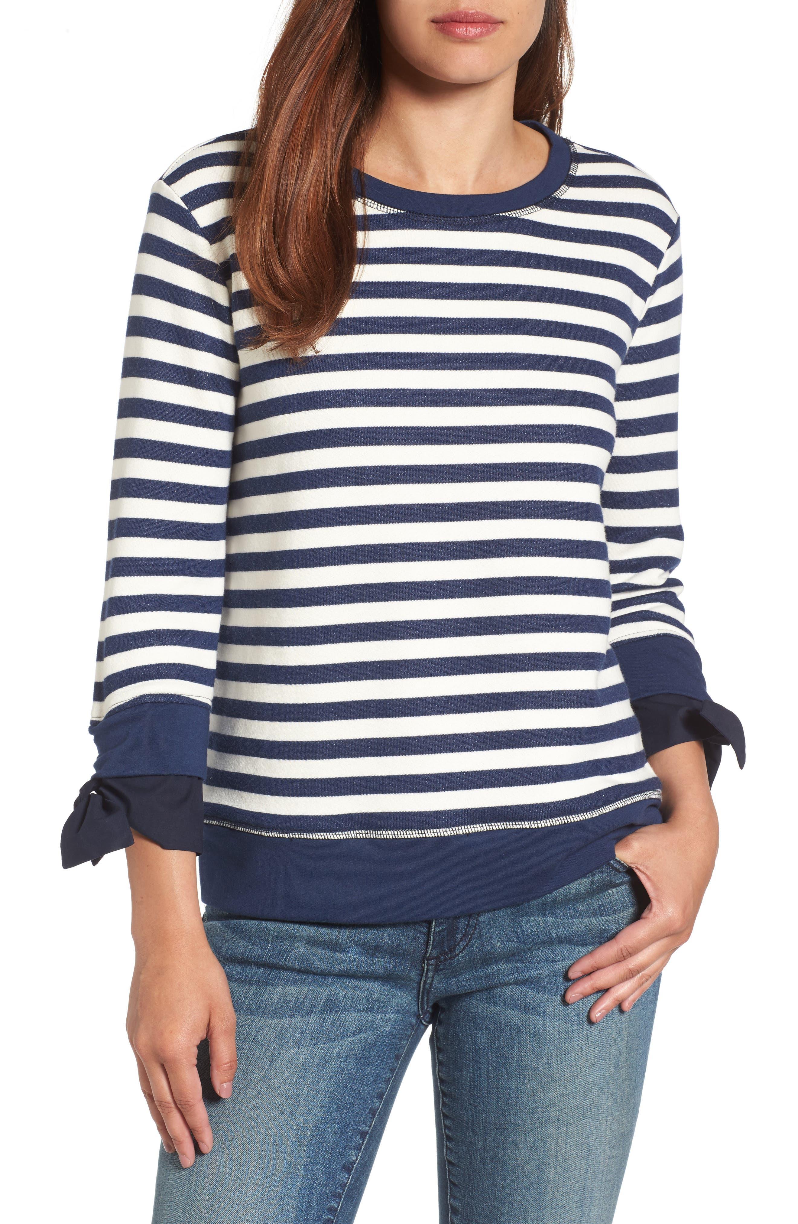 Tie Sleeve Sweatshirt,                         Main,                         color, Navy/ Ivory Stripe