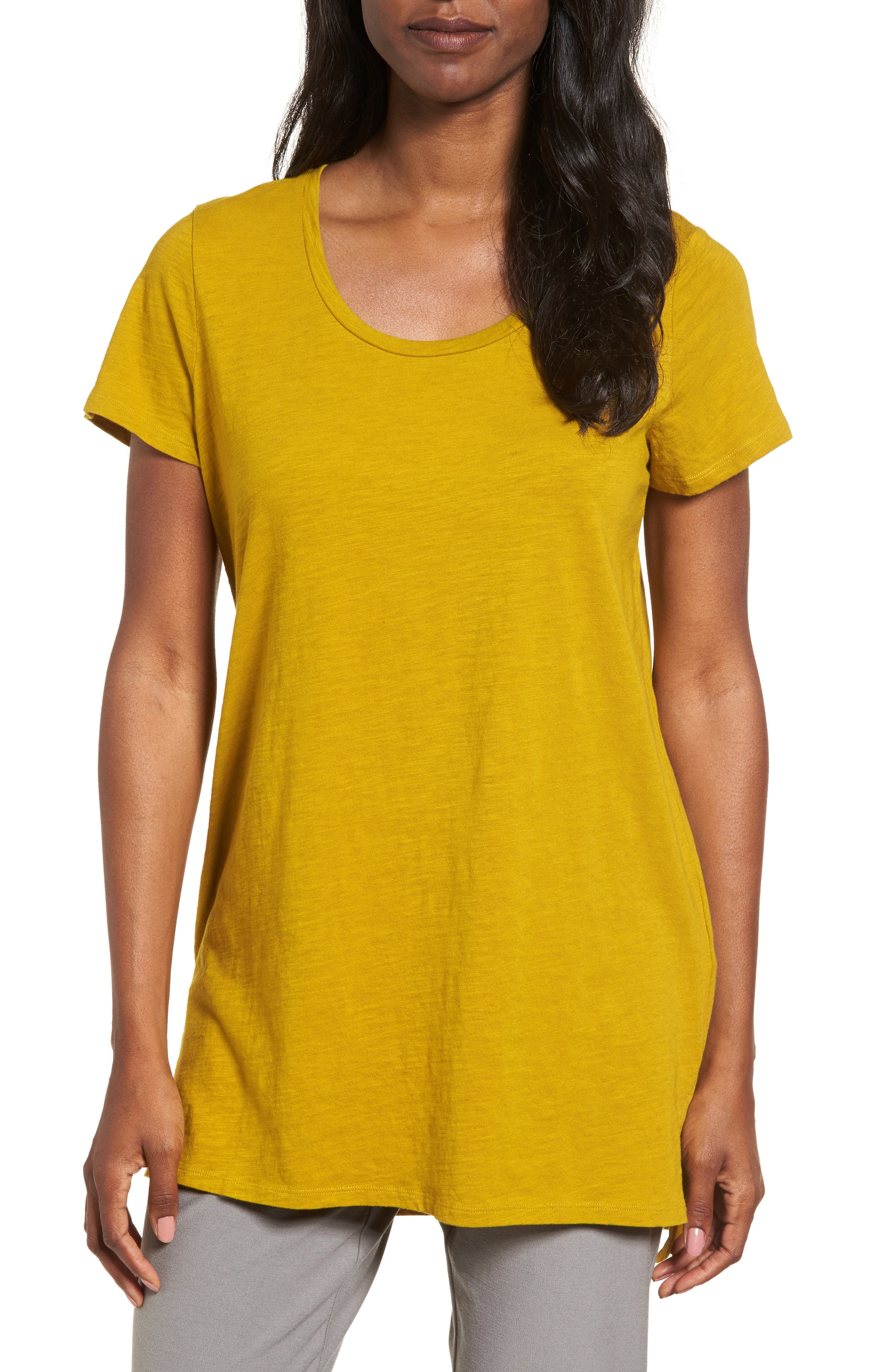 Eileen Fisher U-Neck Organic Cotton Tee