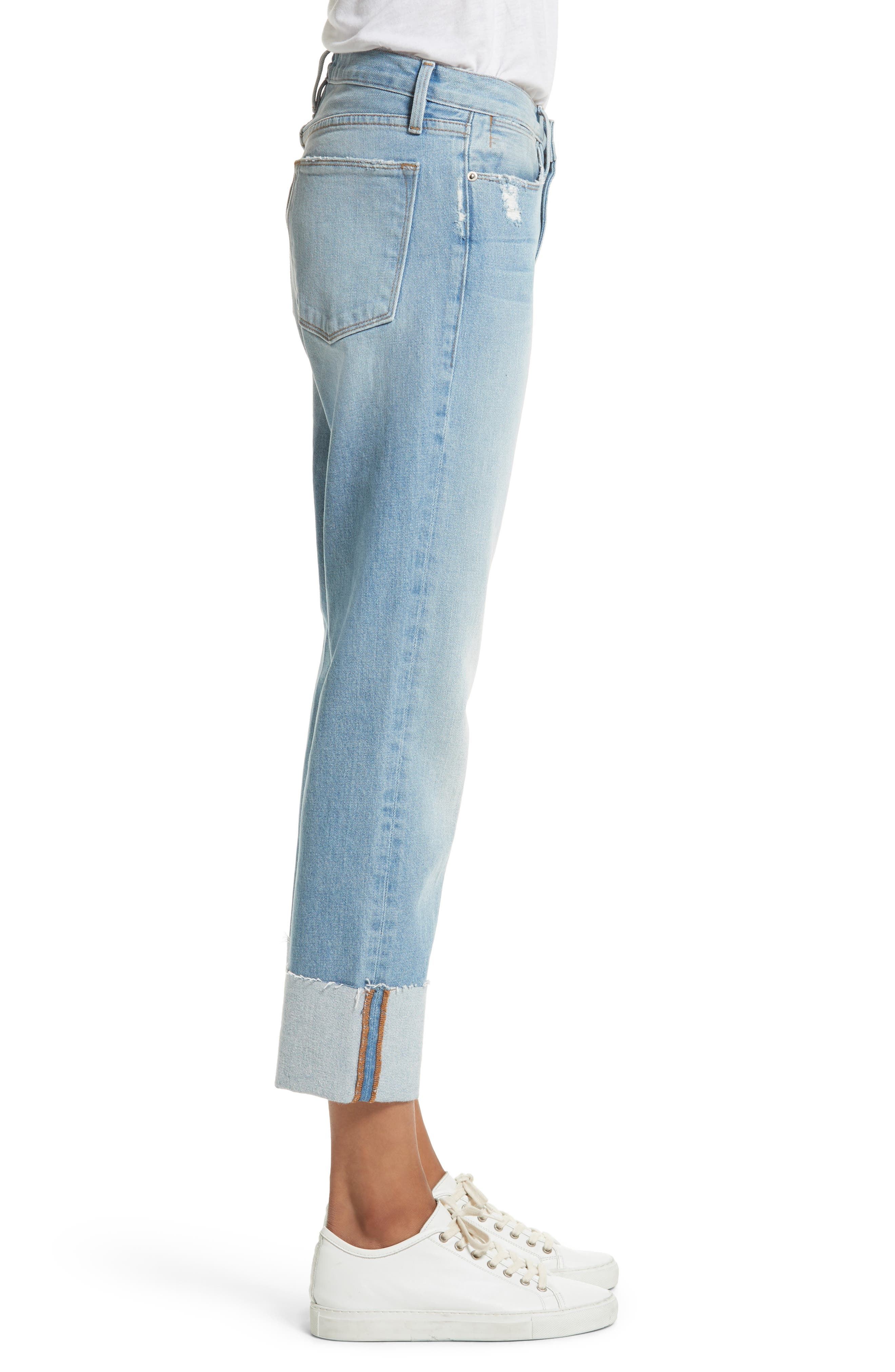 Le High Straight Leg Cuffed Jeans,                             Alternate thumbnail 4, color,                             Berkshire