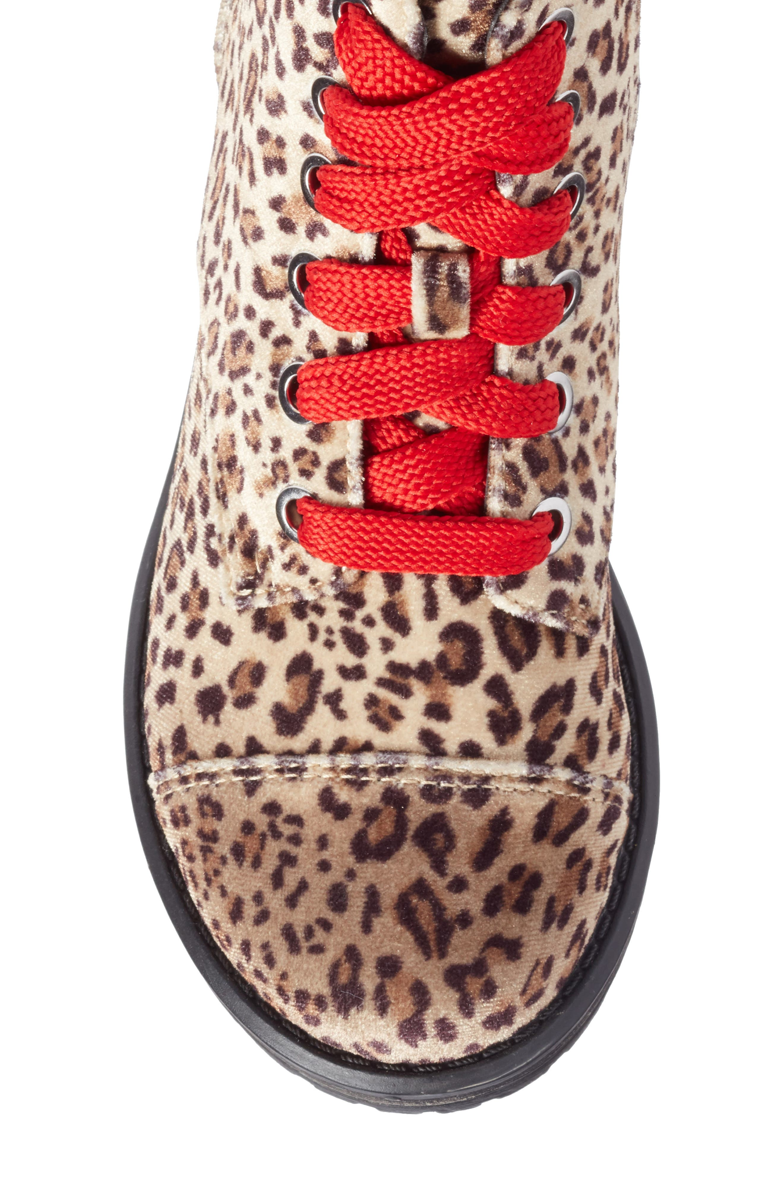 Lilla Combat Boot,                             Alternate thumbnail 5, color,                             Leopard Velvet